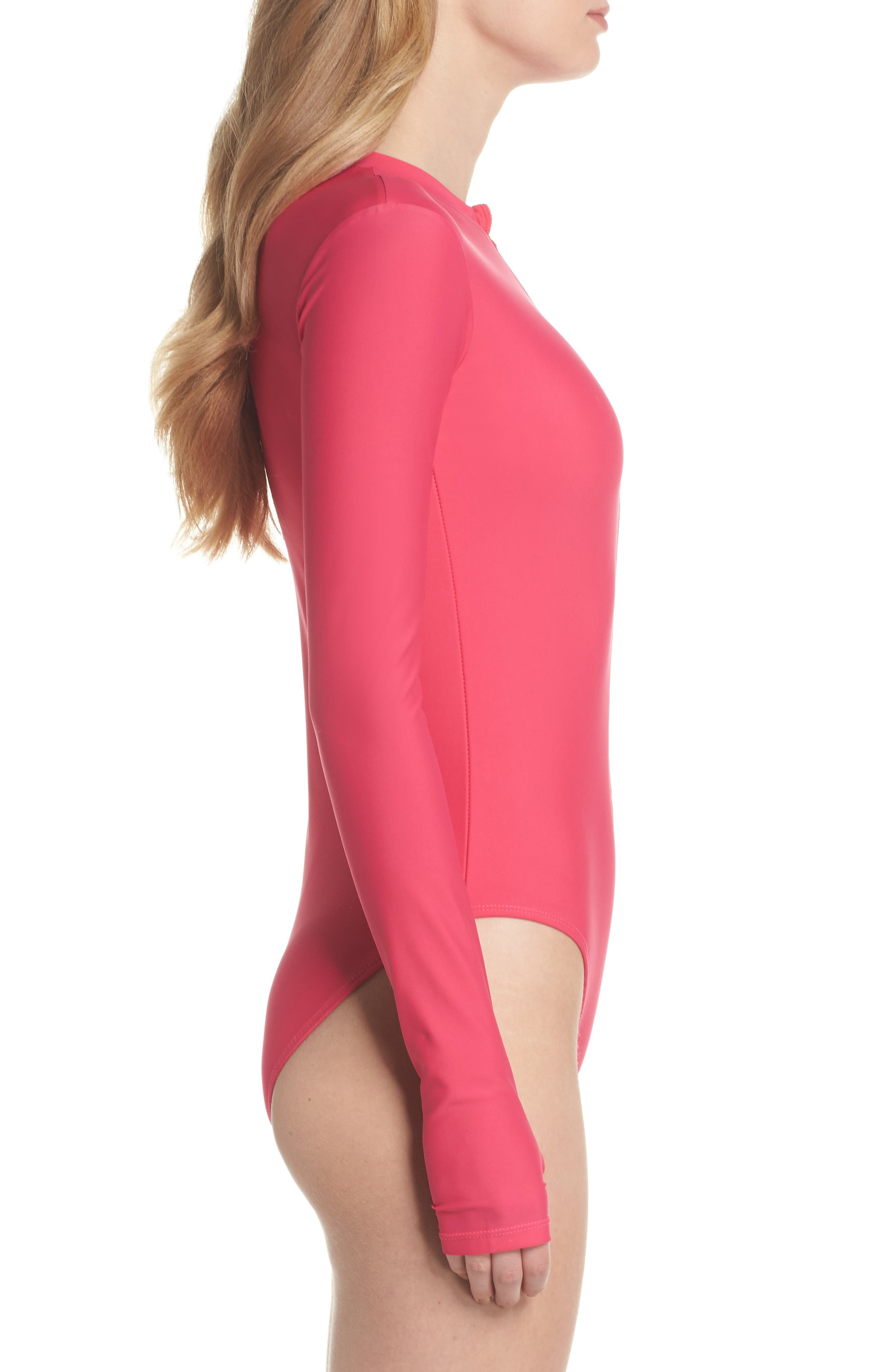 Long Sleeve One-Piece Swimsuit,                             Alternate thumbnail 3, color,
