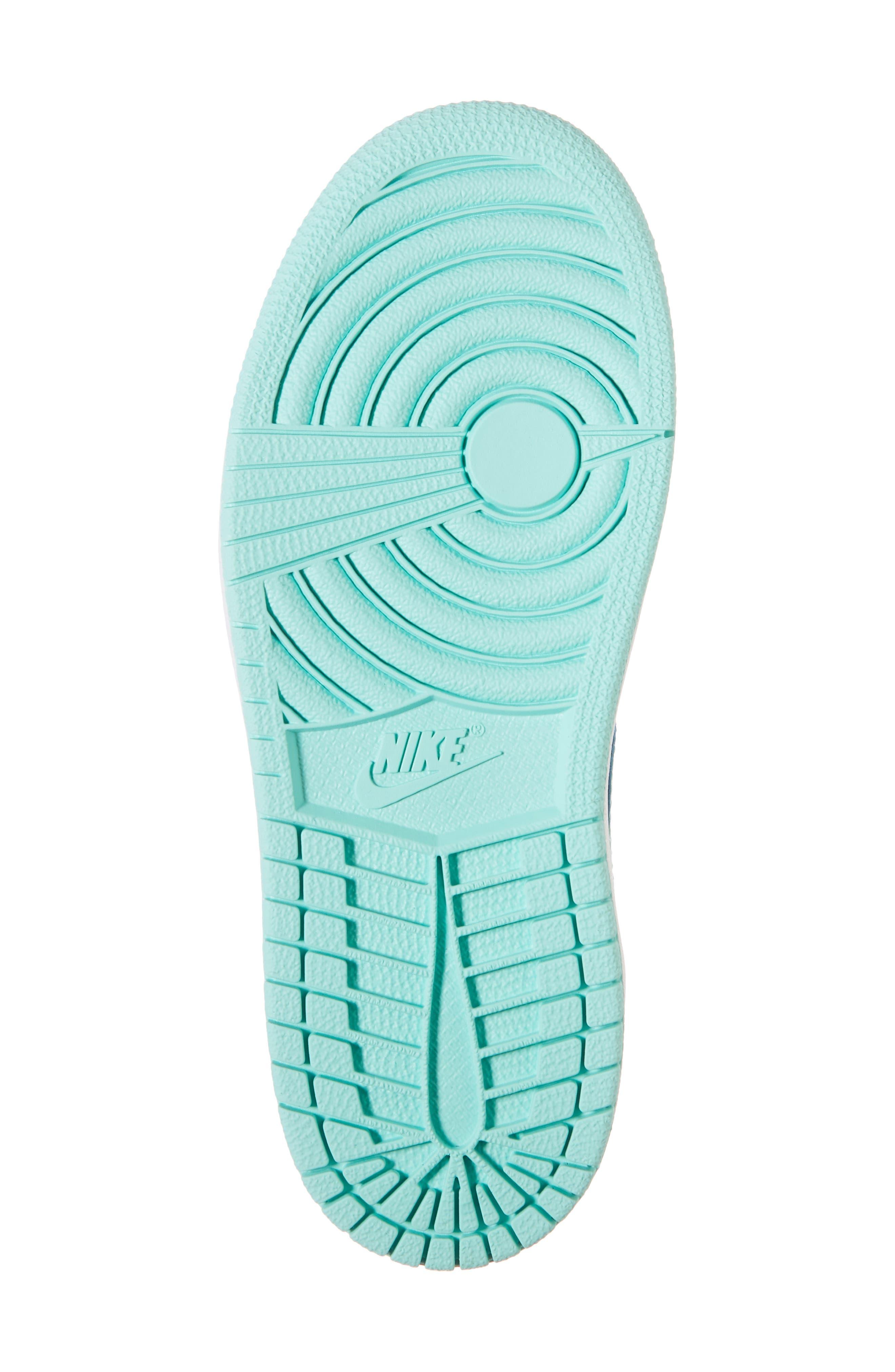 Nike 'Jordan 1 Mid' Basketball Shoe,                             Alternate thumbnail 6, color,                             INK/ EMERALD RISE/ WHITE
