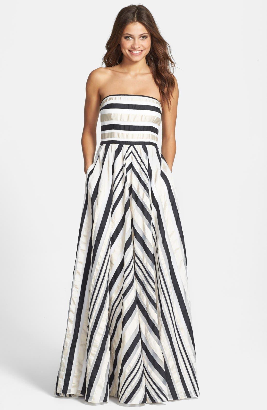 Ribbon Stripe Strapless Dress,                             Main thumbnail 1, color,                             001