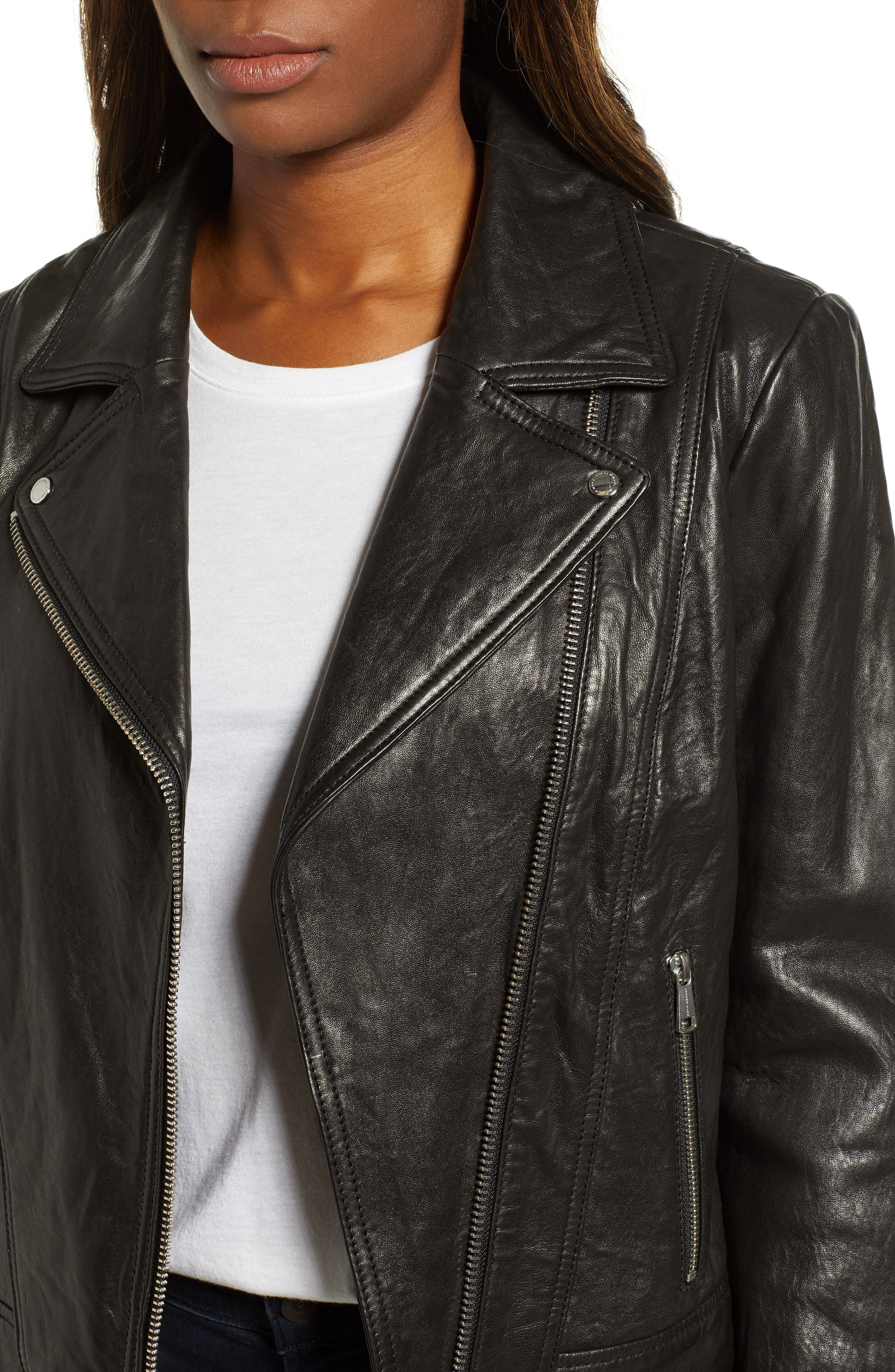 Washed Nappa Leather Moto Jacket,                             Alternate thumbnail 4, color,                             BLACK