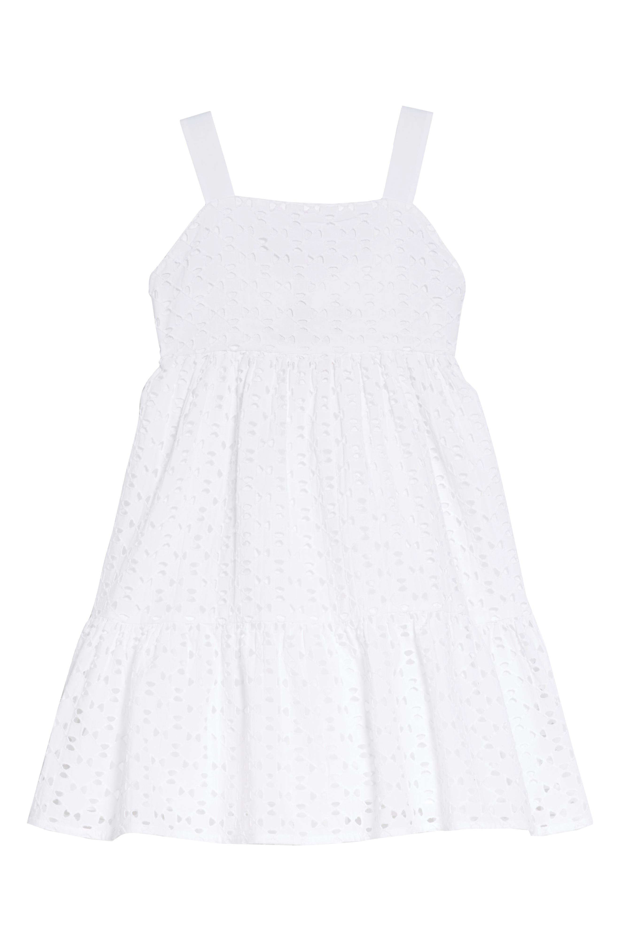 Eliza Eyelet Dress,                         Main,                         color, WHITE