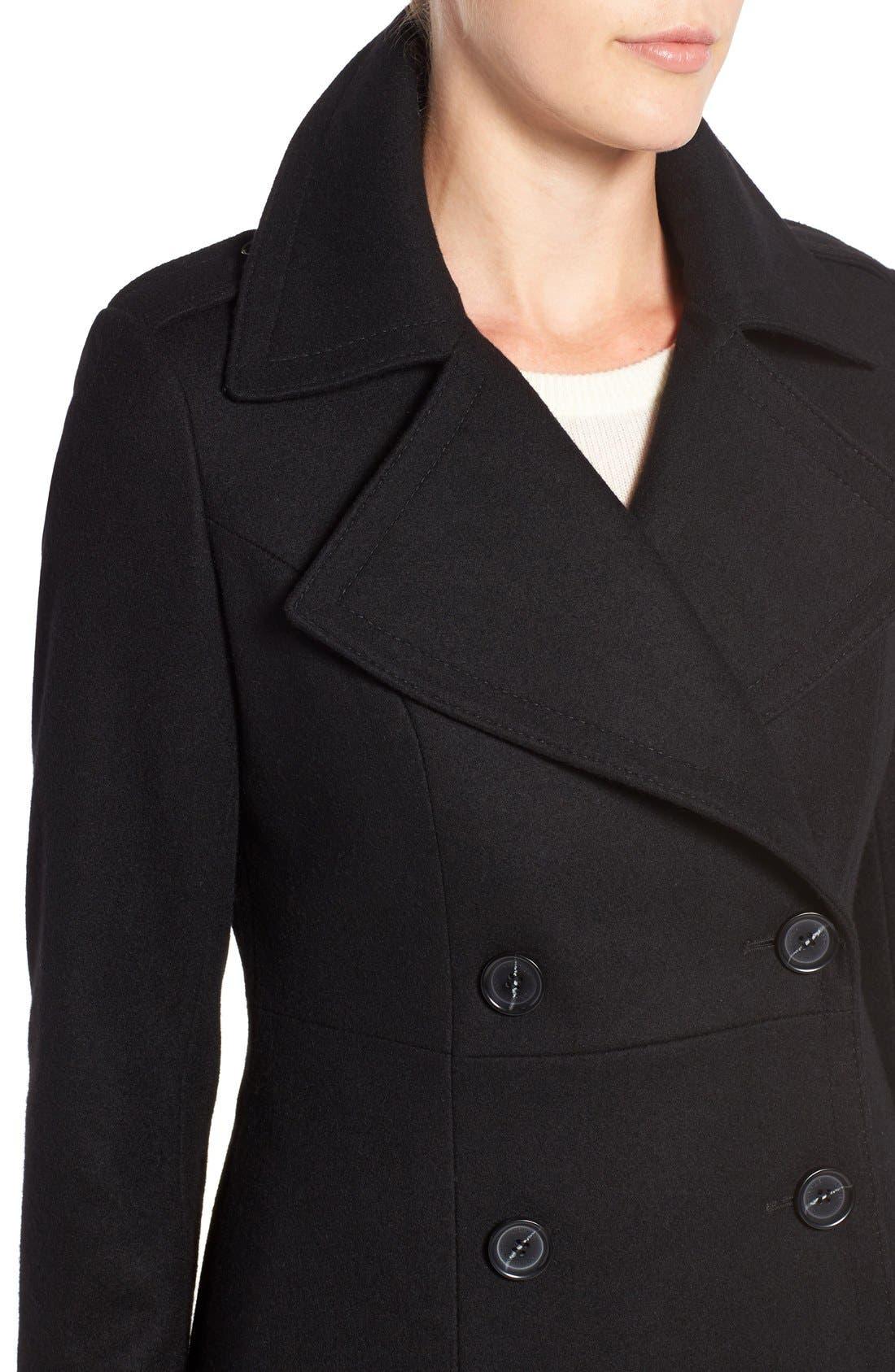 Long Wool Blend Coat,                             Alternate thumbnail 4, color,