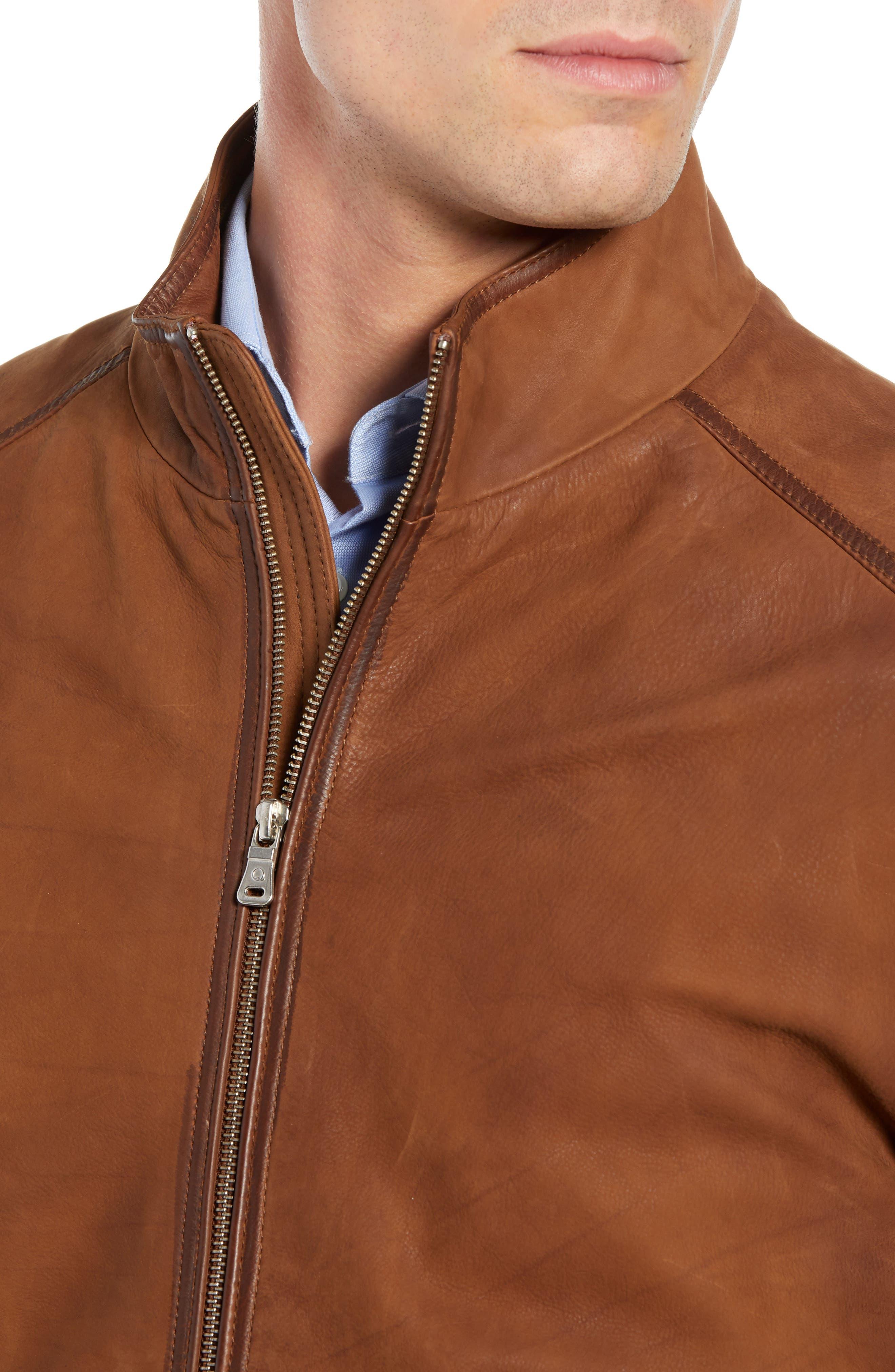 Regular Fit Leather Moto Jacket,                             Alternate thumbnail 4, color,                             COGNAC