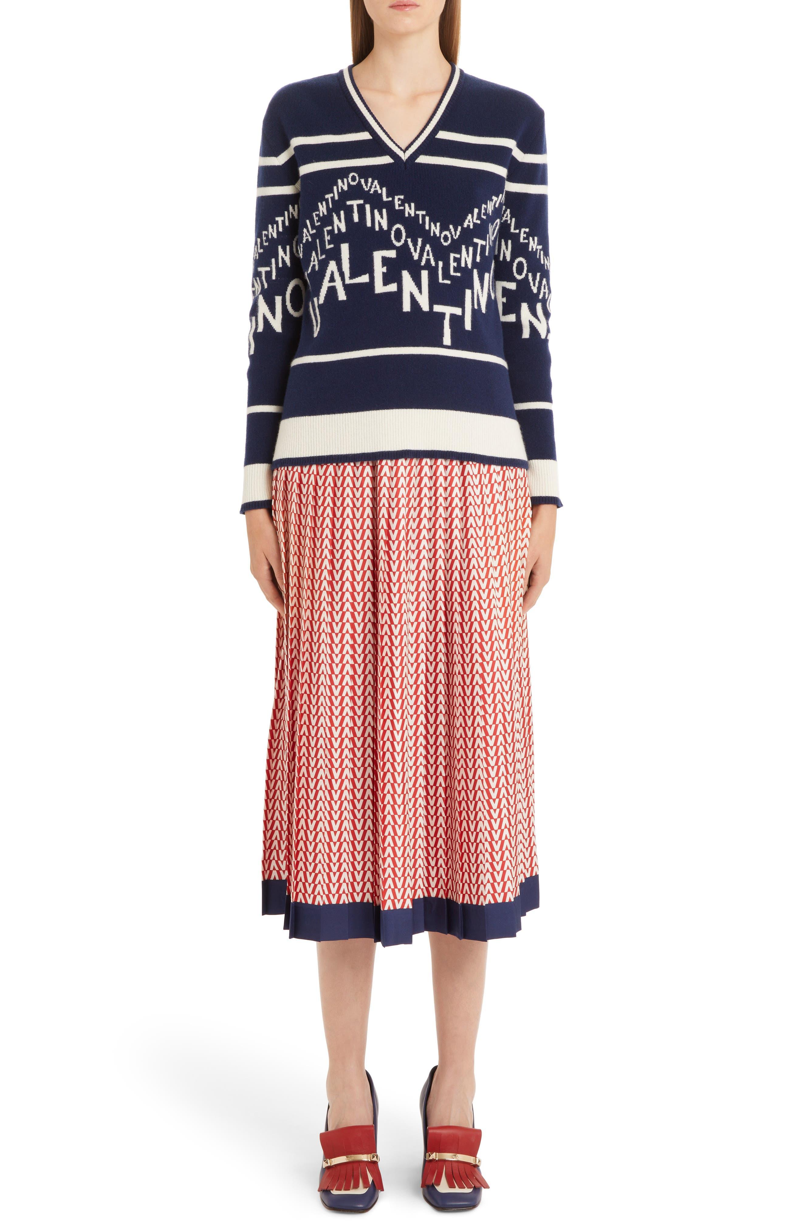 VALENTINO,                             Chevron Logo Wool & Cashmere Sweater,                             Alternate thumbnail 6, color,                             ALMOND/ PURE BLUE