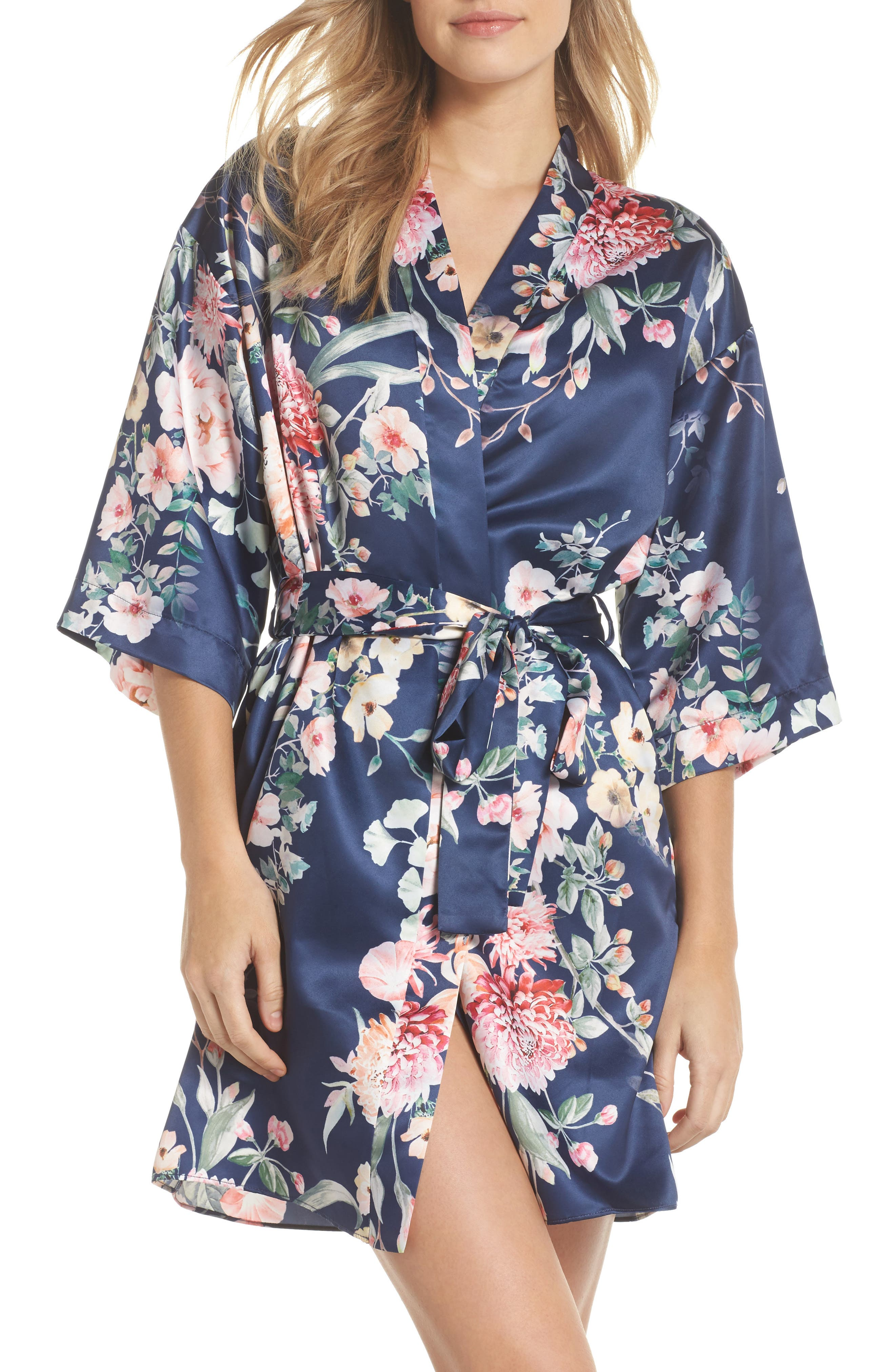 Renata Short Satin Robe,                             Main thumbnail 2, color,