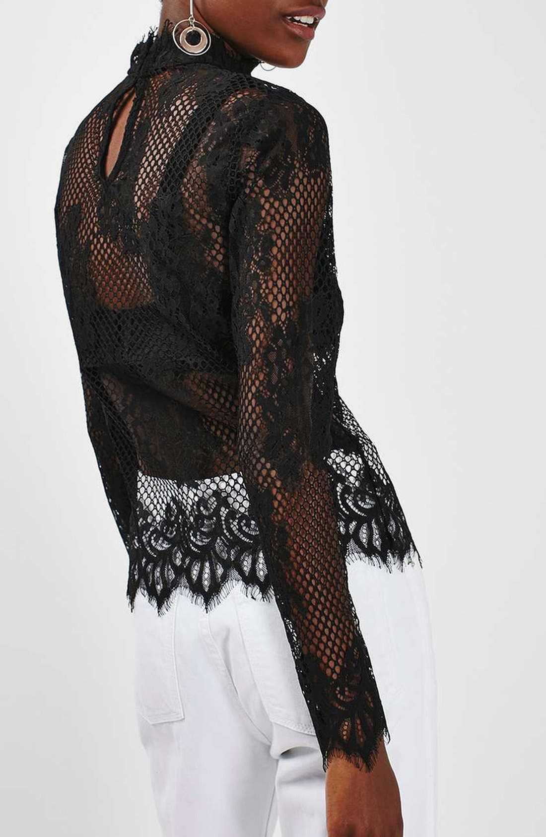 High Neck Sheer Mesh Lace Top,                             Alternate thumbnail 2, color,                             001