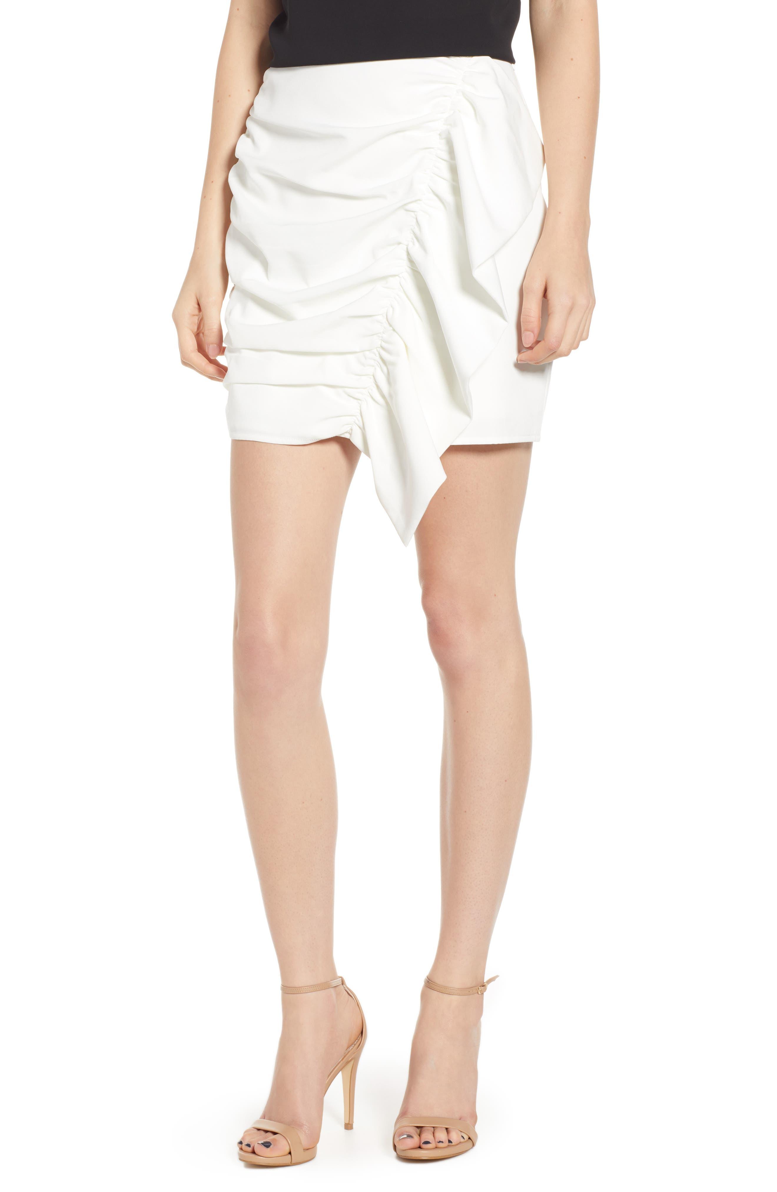 Endless Rose Gathered Miniskirt, White
