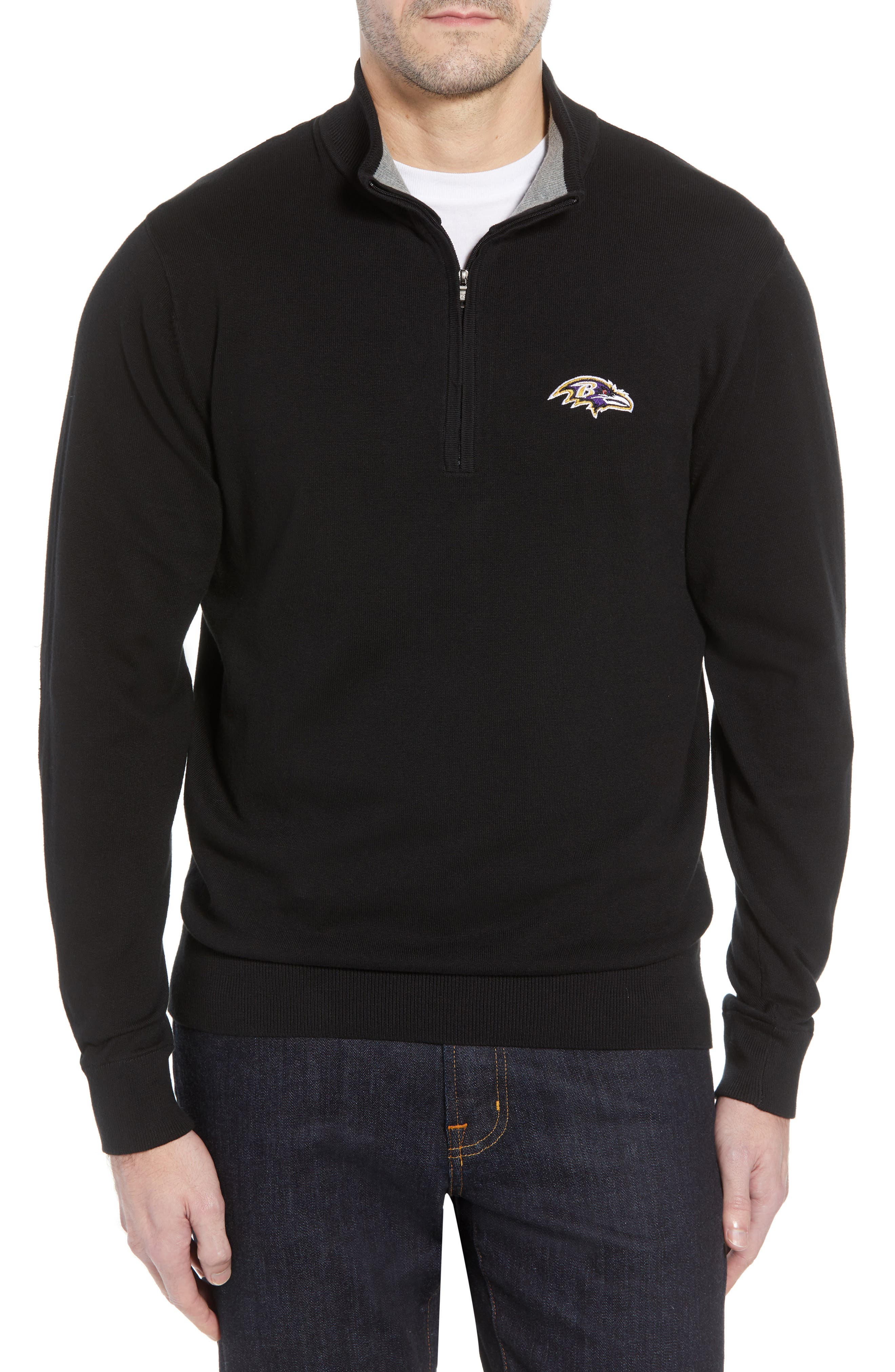 Baltimore Ravens - Lakemont Regular Fit Quarter Zip Sweater,                             Main thumbnail 1, color,                             BLACK
