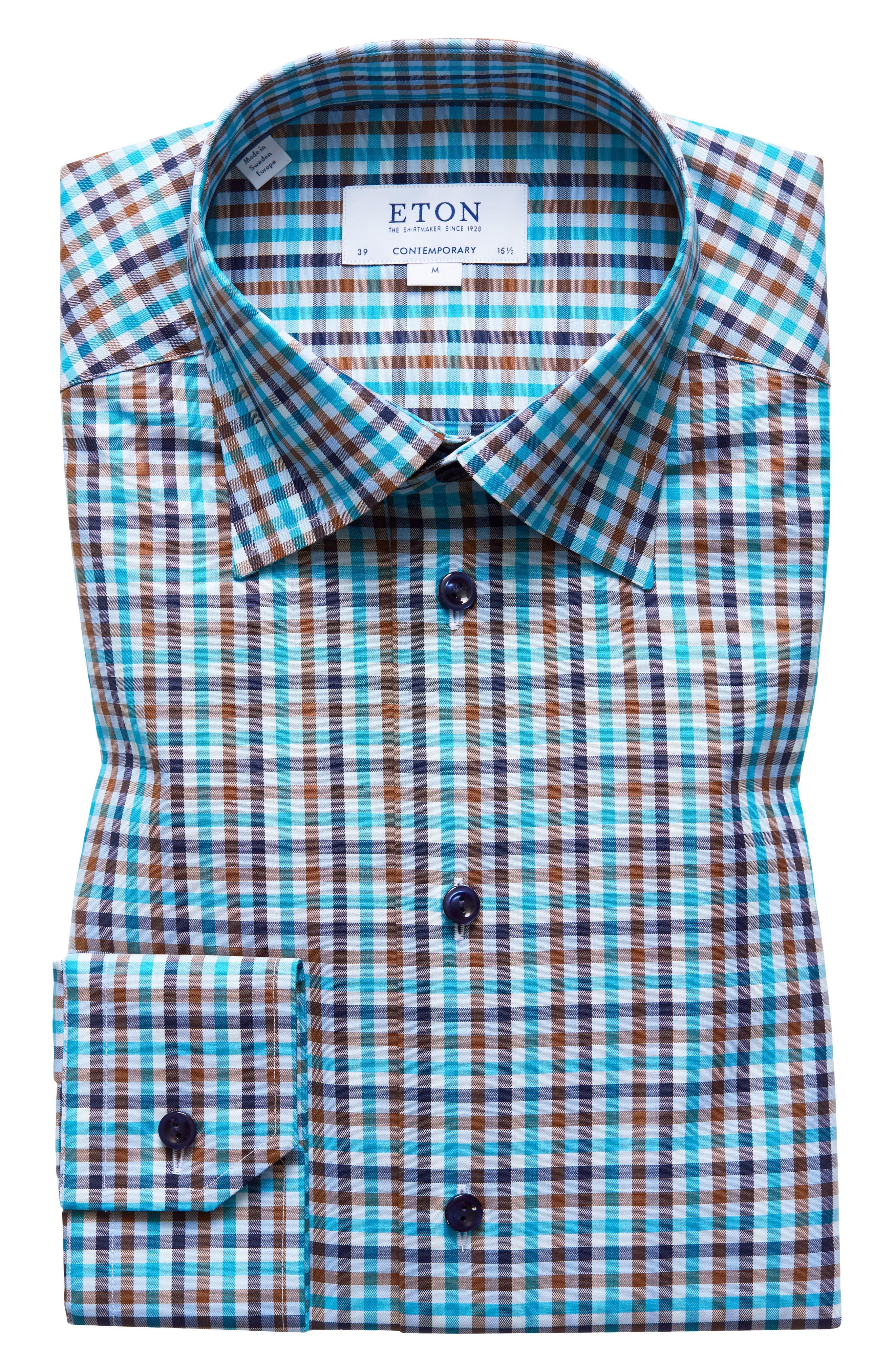 Contemporary Fit Check Dress Shirt,                         Main,                         color, BLUE