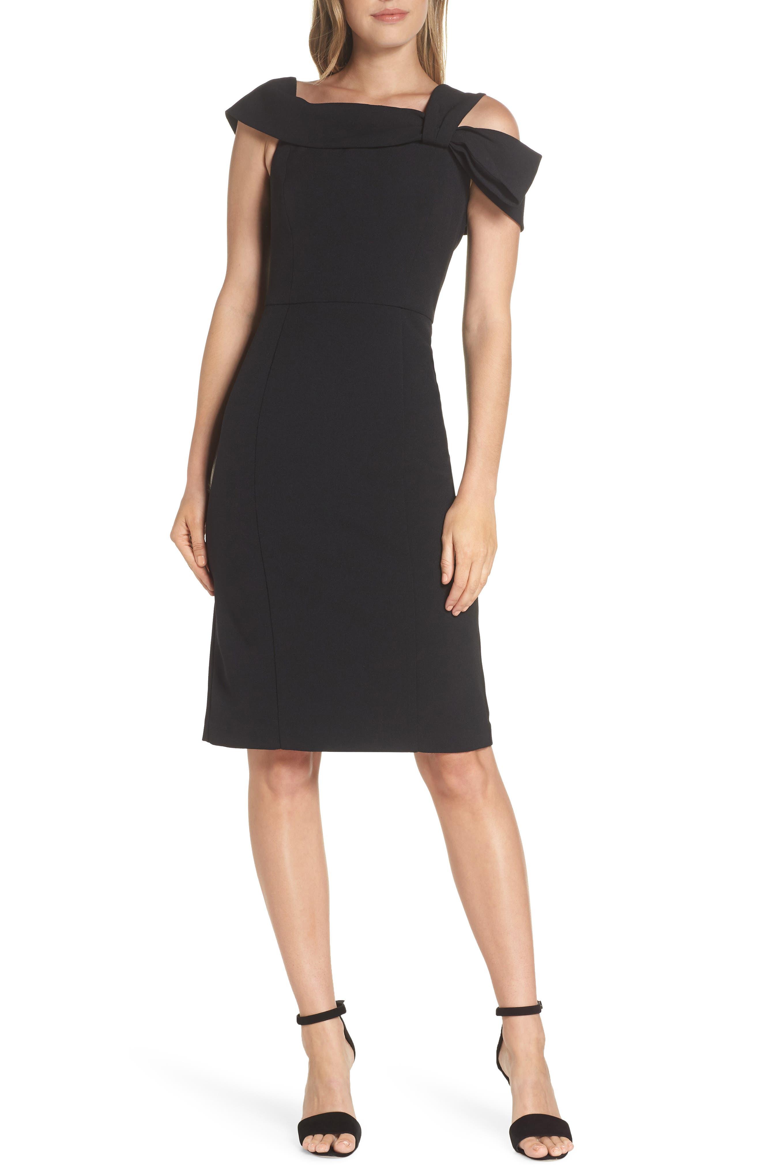 Eliza J One Strap Cold-Shoulder Dress, Black