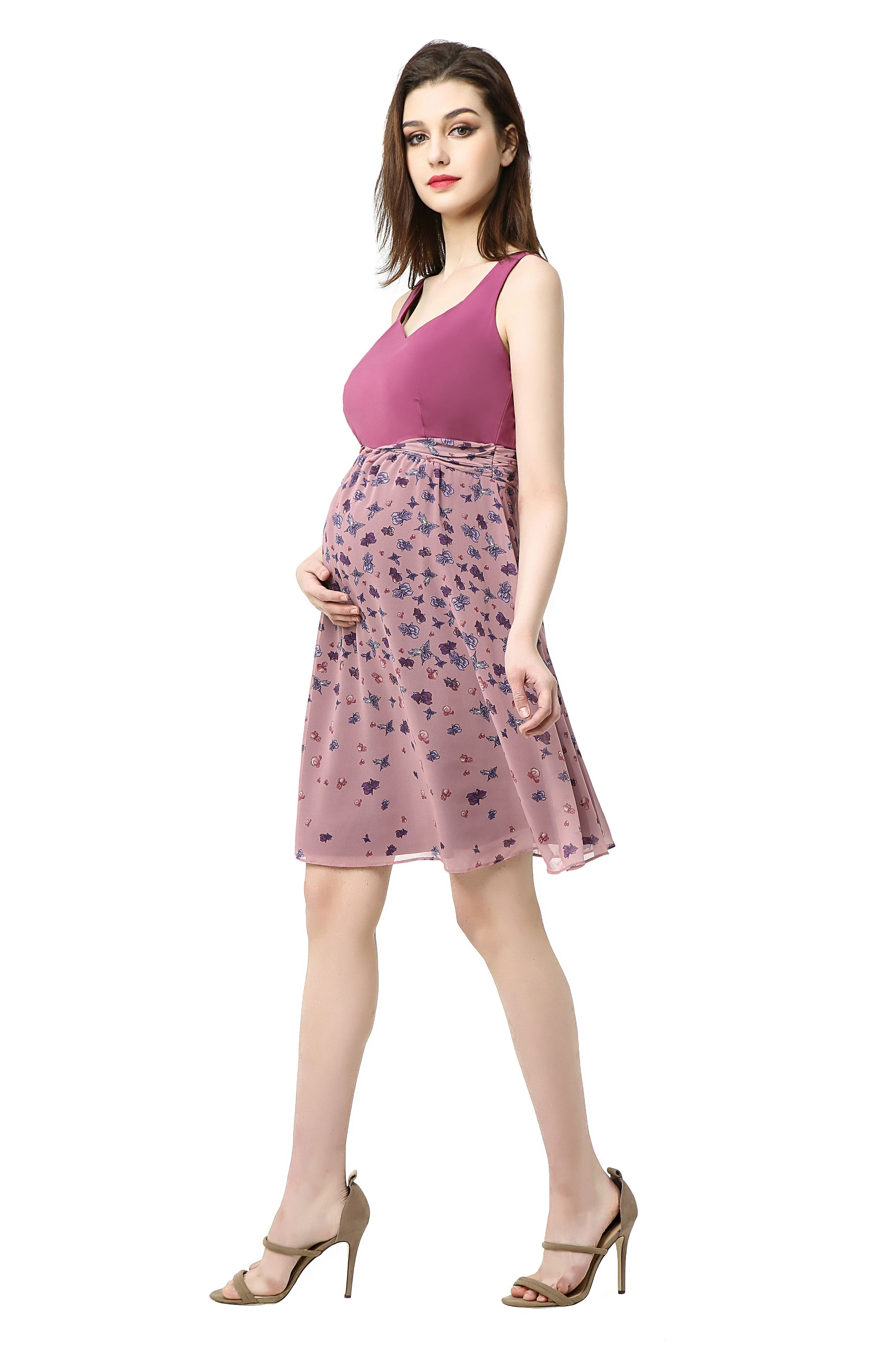 Libby Print Skirt Maternity Dress,                             Alternate thumbnail 4, color,                             ROSE PINK