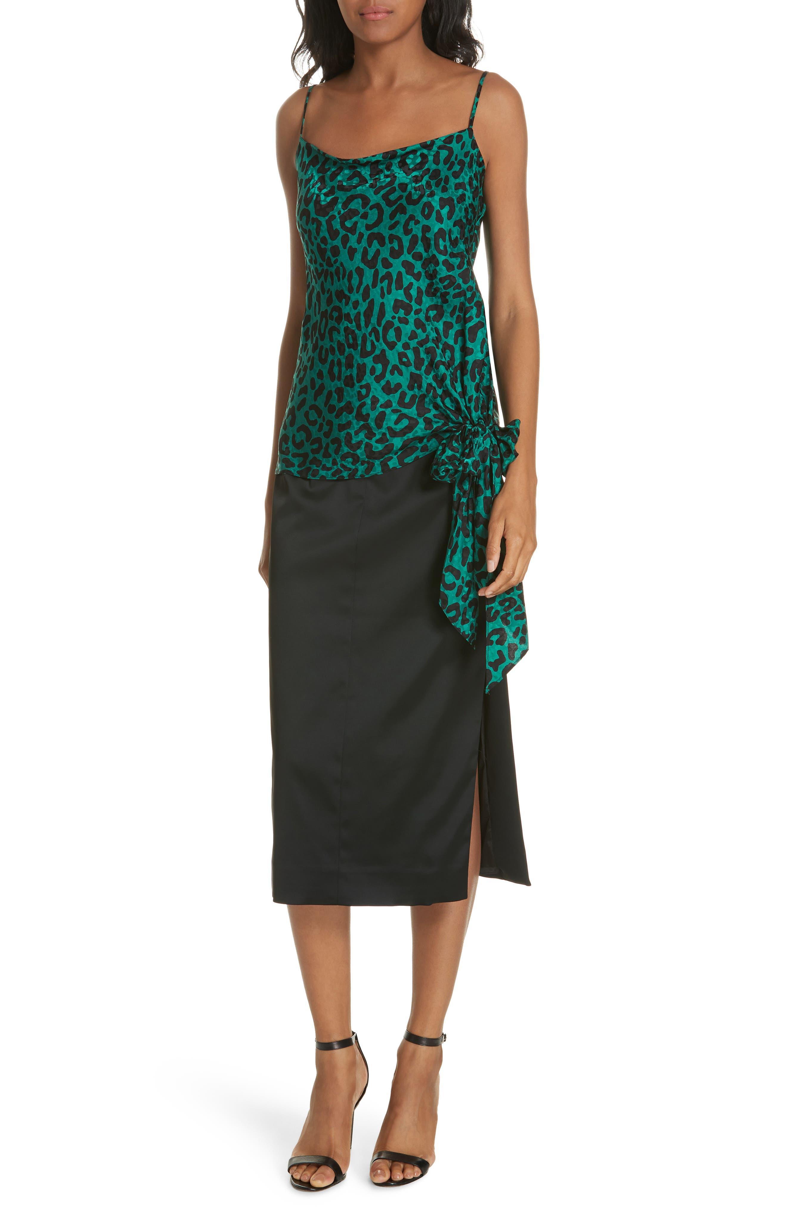 Leopard Print Tie Waist Silk Jacquard Camisole,                             Alternate thumbnail 7, color,                             EMERALD