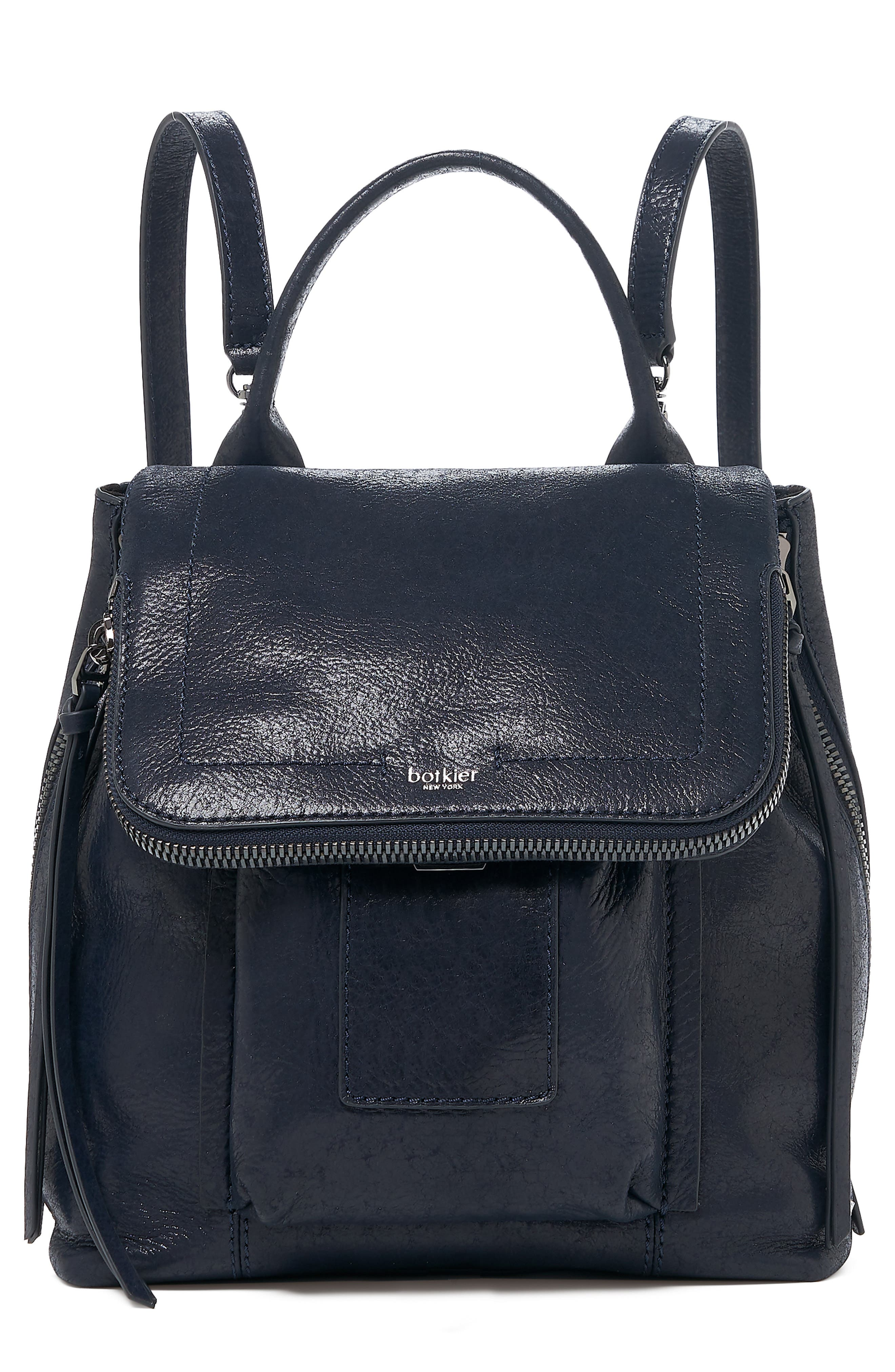 Warren Leather Backpack - Blue in Navy