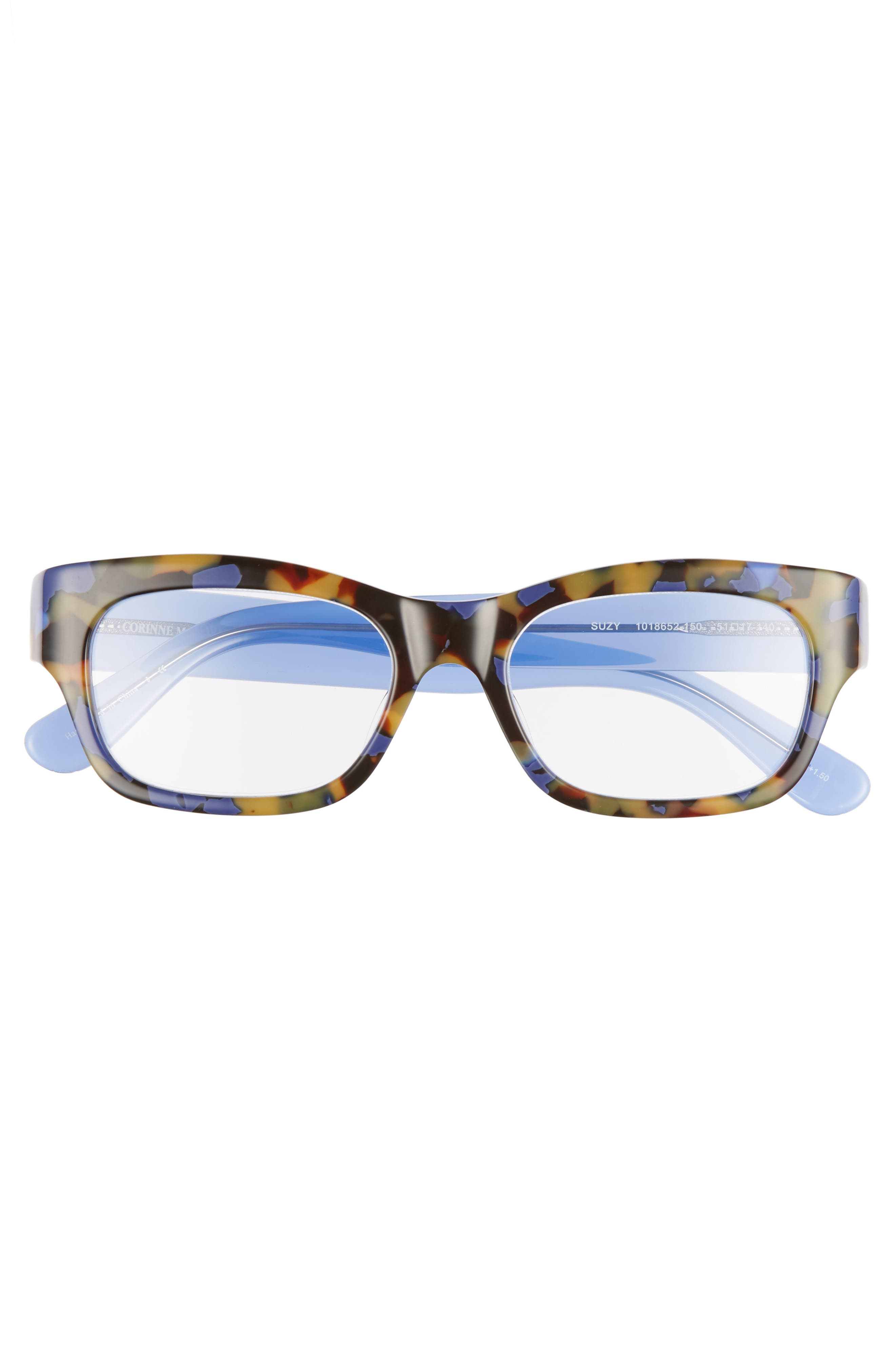 Suzy 51mm Reading Glasses,                             Alternate thumbnail 3, color,                             TORTOISE BLUE