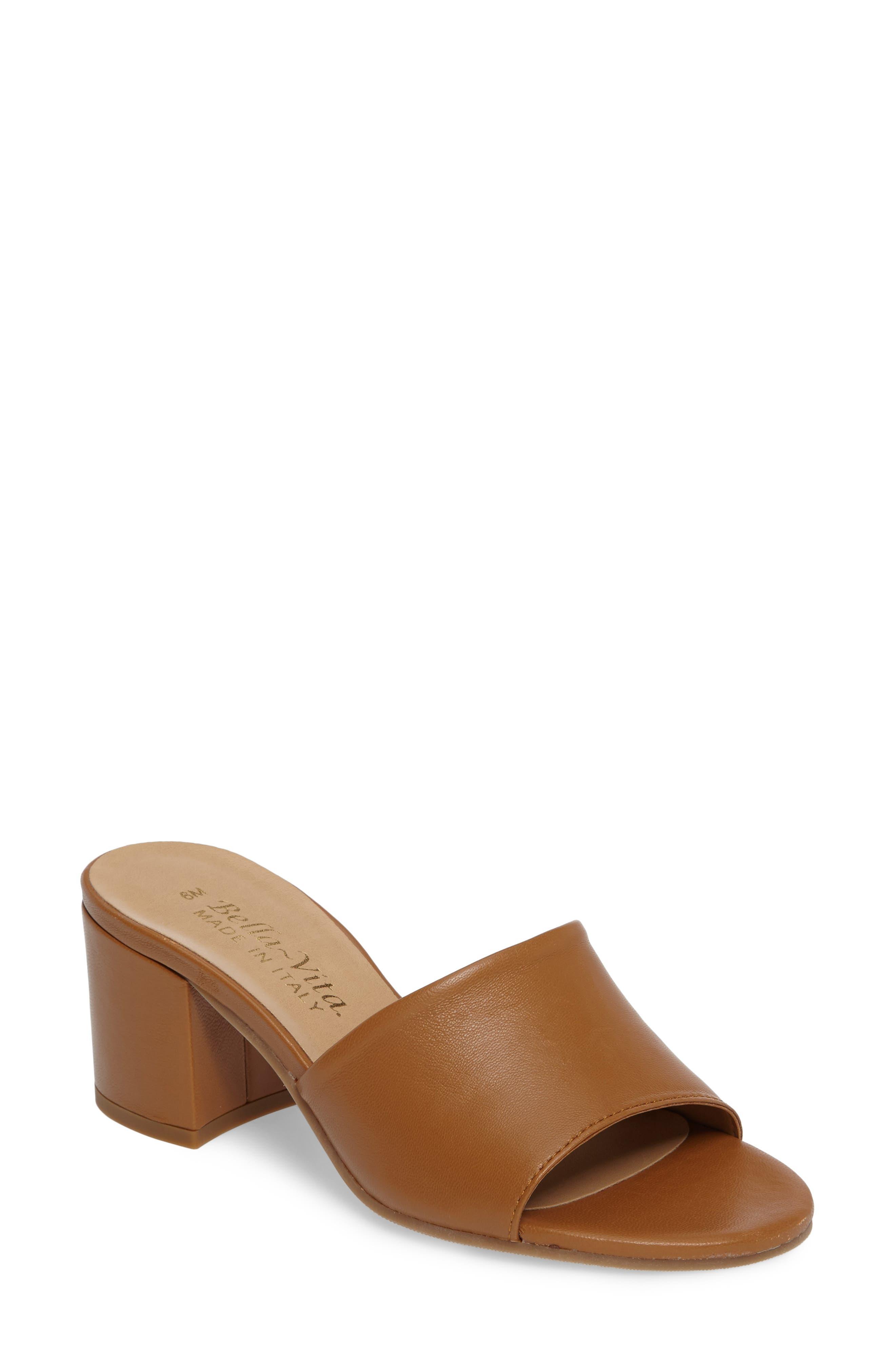 Mel Slide Sandal,                         Main,                         color, CAMEL LEATHER