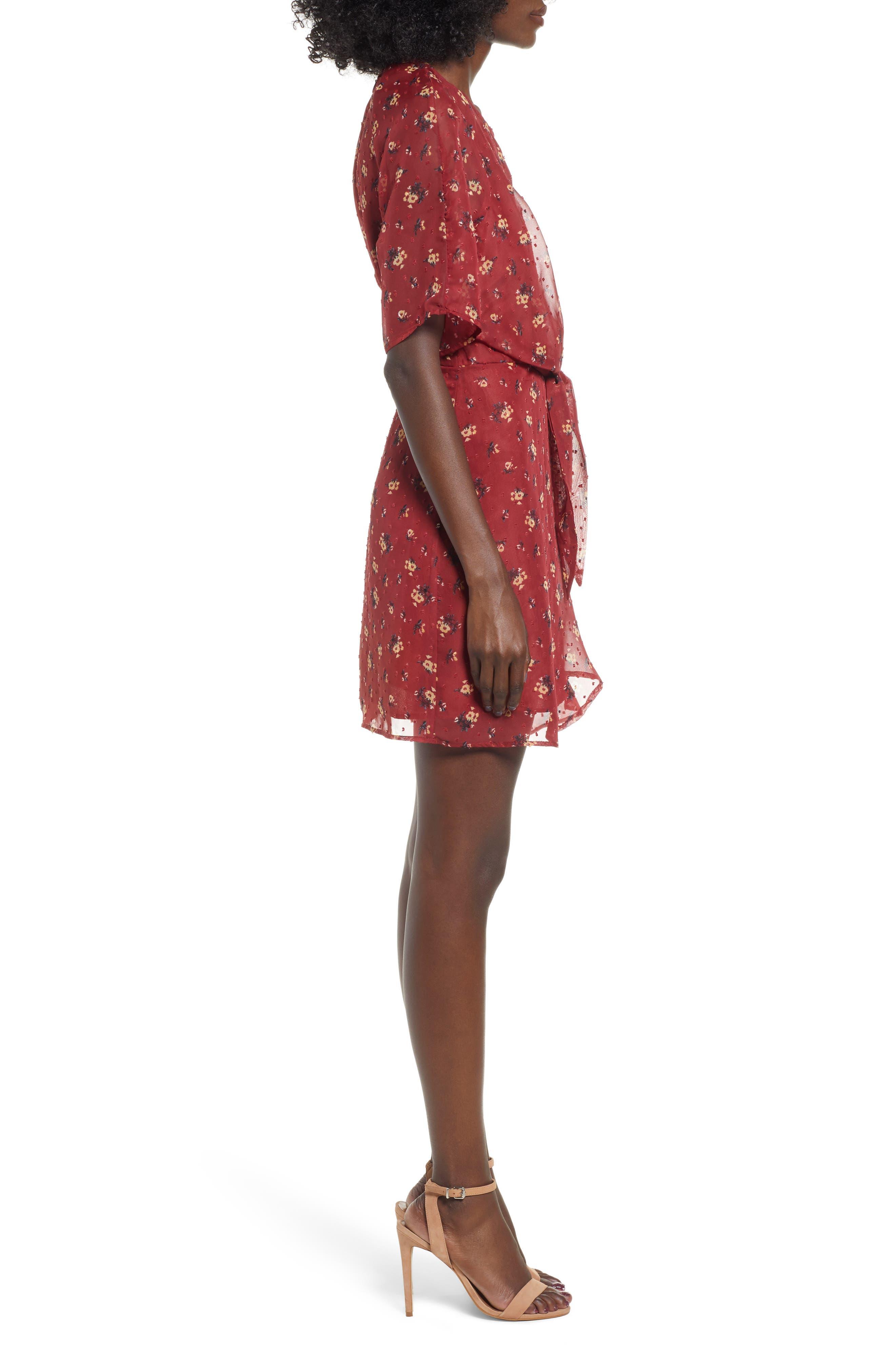 Floral Print Dress,                             Alternate thumbnail 3, color,                             BRICK