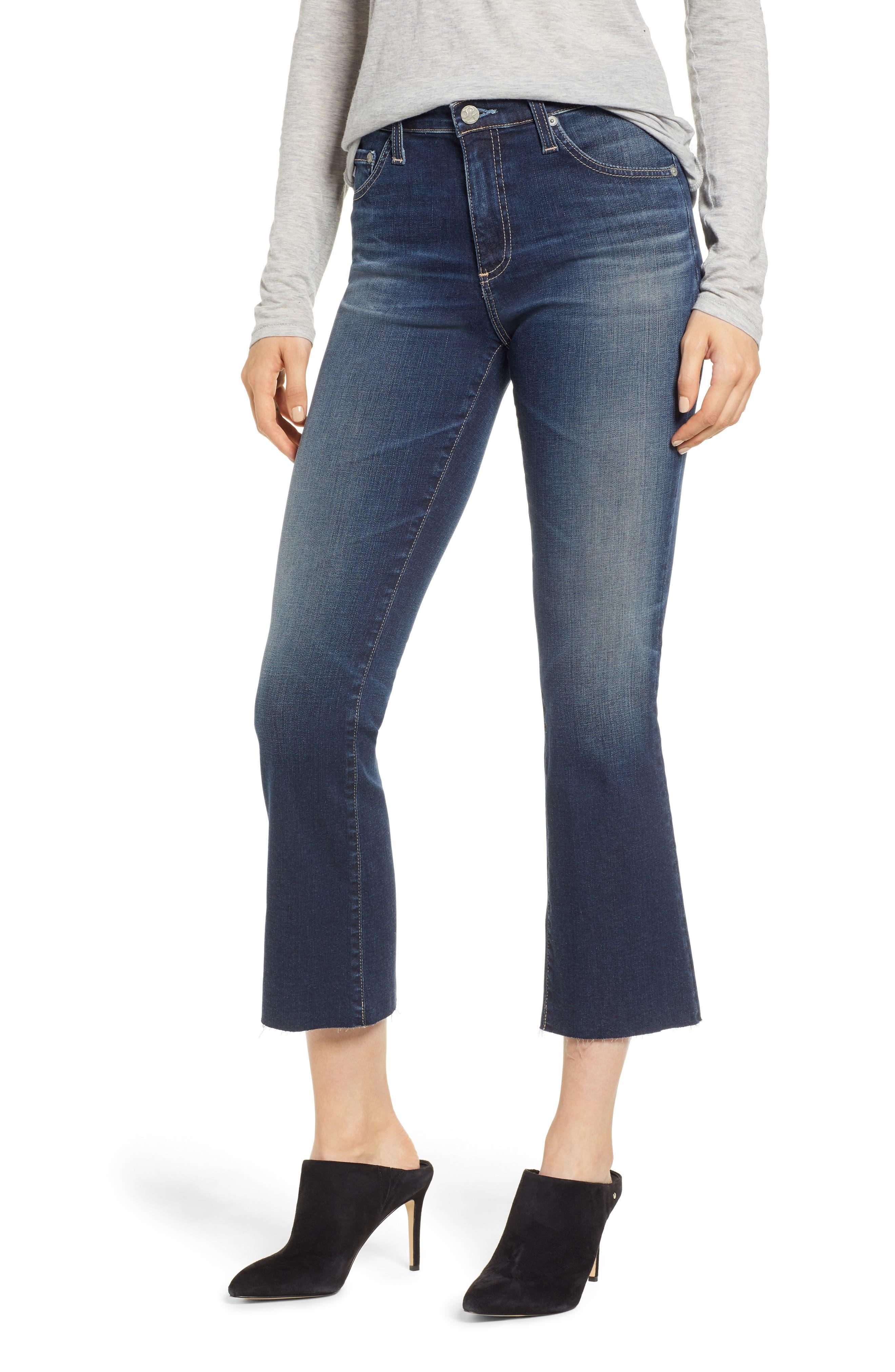 Jodi Raw Hem Crop Flare Jeans,                             Main thumbnail 1, color,                             10Y PURSUED