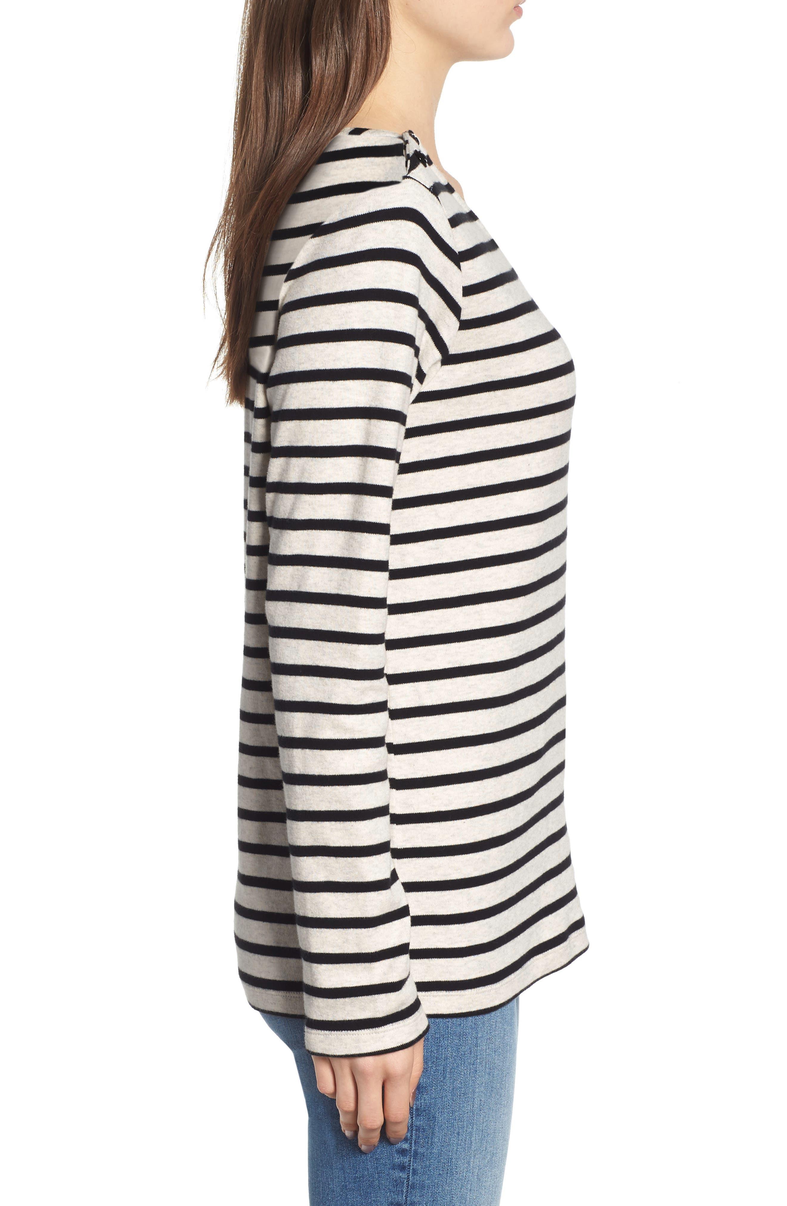 Breton Stripe Long Sleeve Tee,                             Alternate thumbnail 3, color,                             BLACK/ WHITE STRIPE
