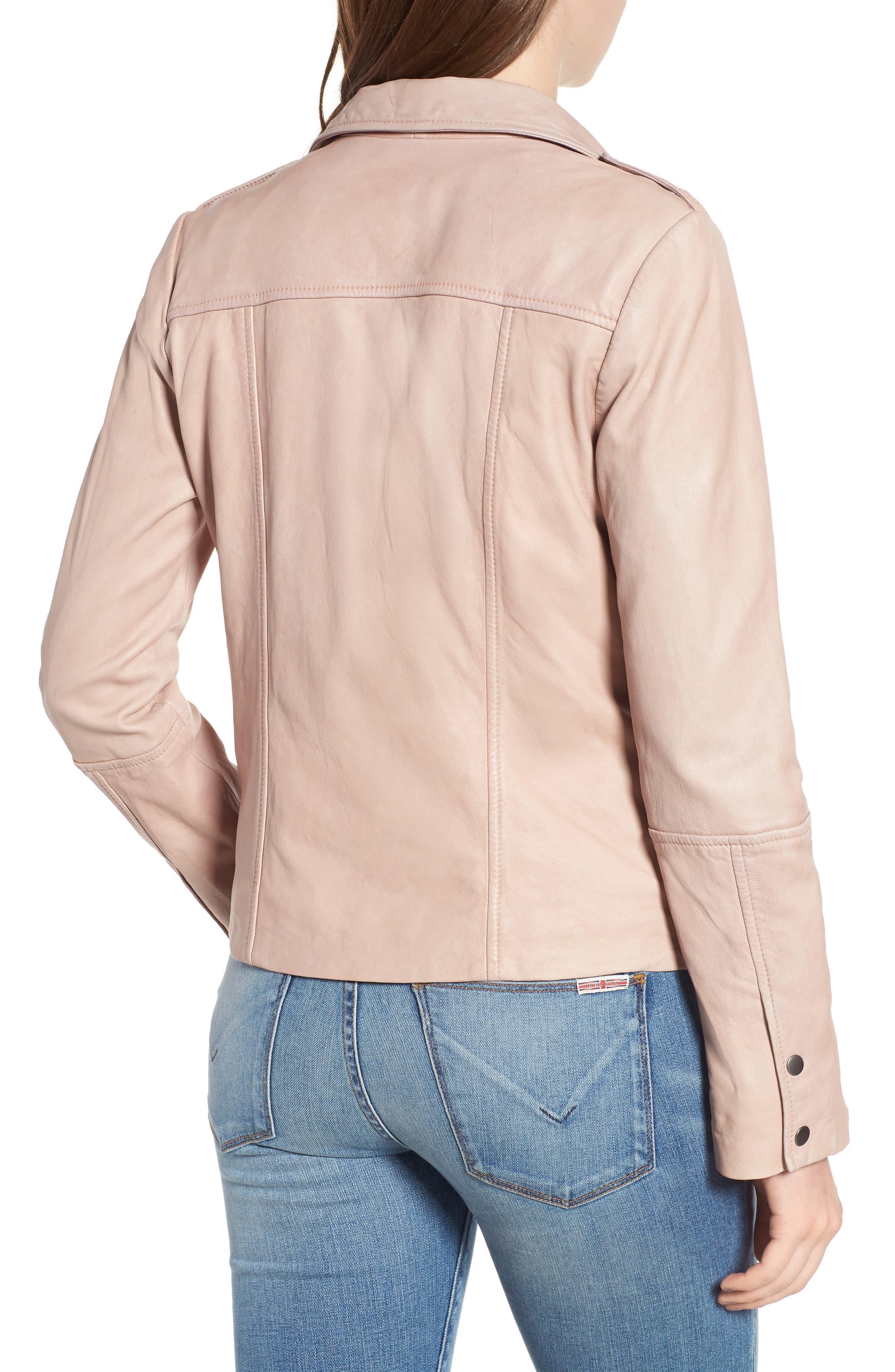 Feminine Leather Moto Jacket,                             Alternate thumbnail 2, color,                             270