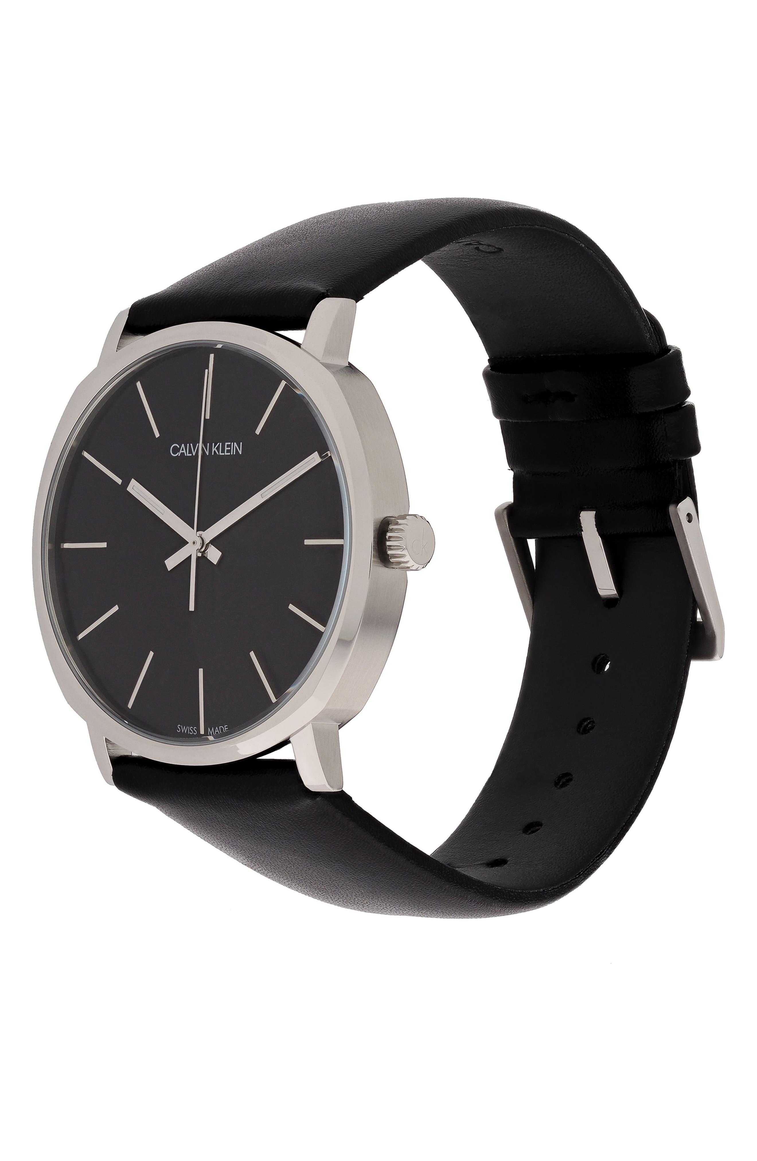 CALVIN KLEIN,                             Posh Leather Band Watch, 40mm,                             Alternate thumbnail 4, color,                             BLACK/ SILVER/ BLACK