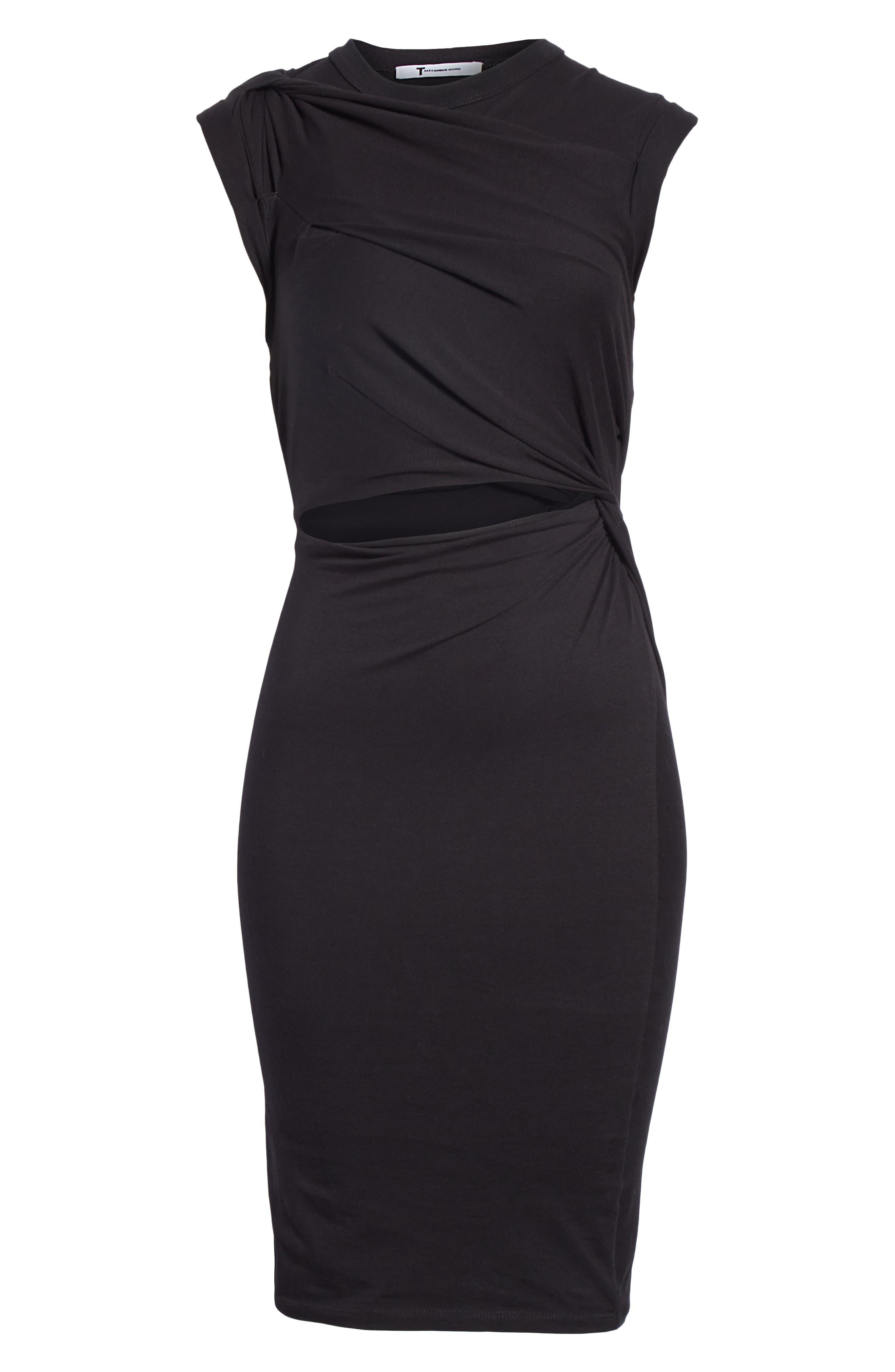 Keyhole Twist Compact Jersey Dress,                             Alternate thumbnail 6, color,                             BLACK