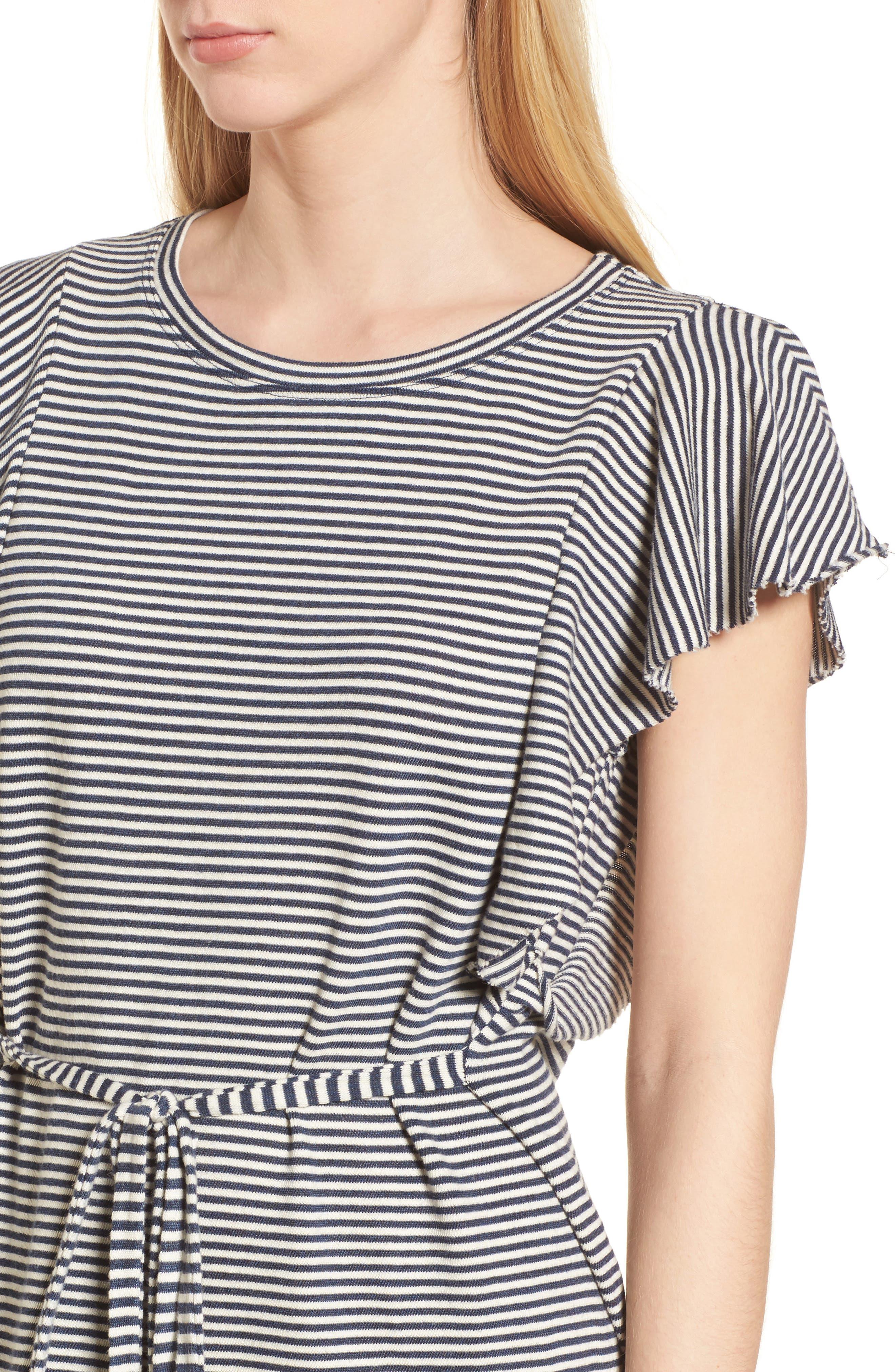 Stripe Ruffle Dress,                             Alternate thumbnail 4, color,                             409