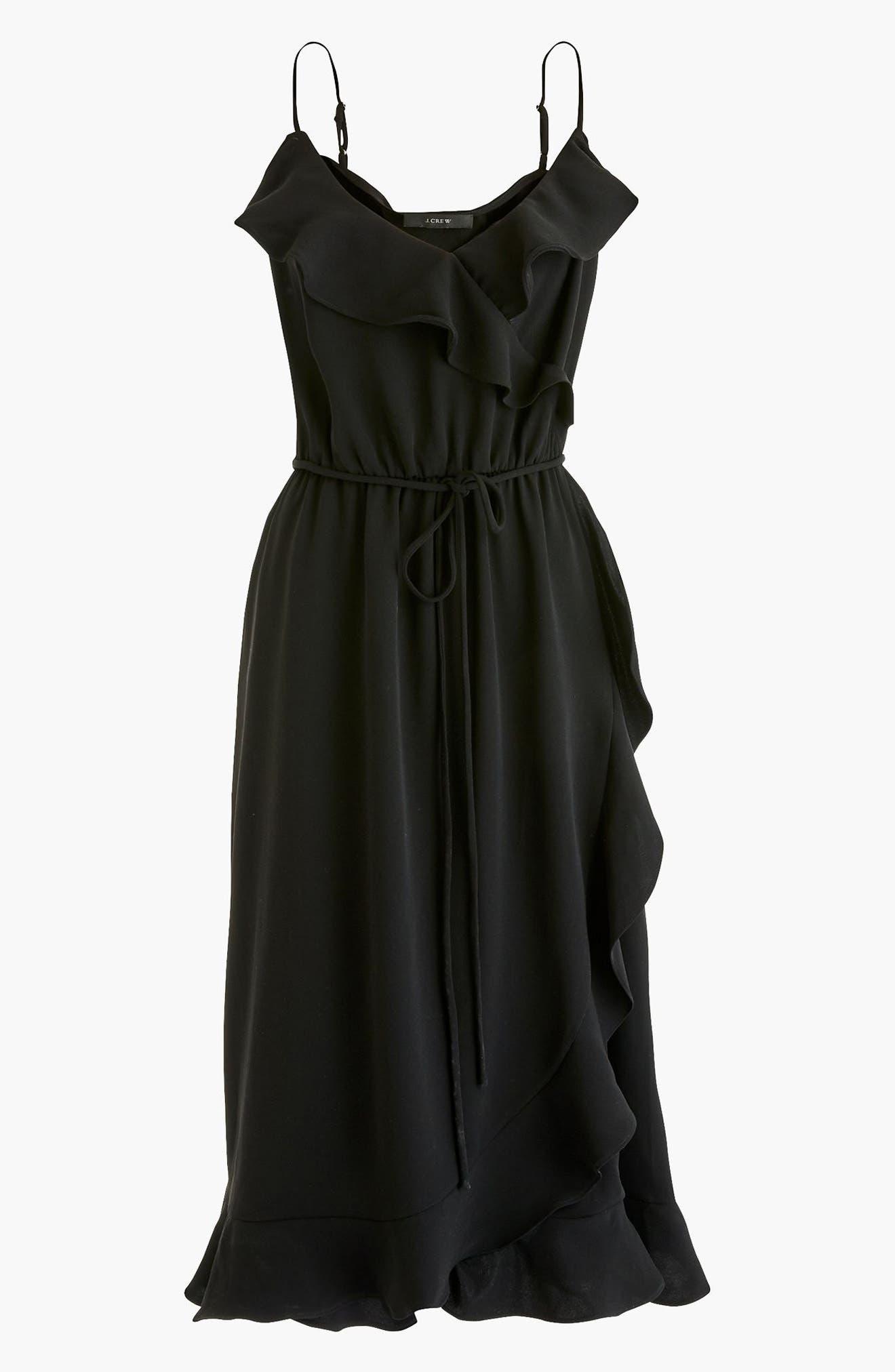Faux Wrap Ruffle Dress,                             Main thumbnail 1, color,                             001