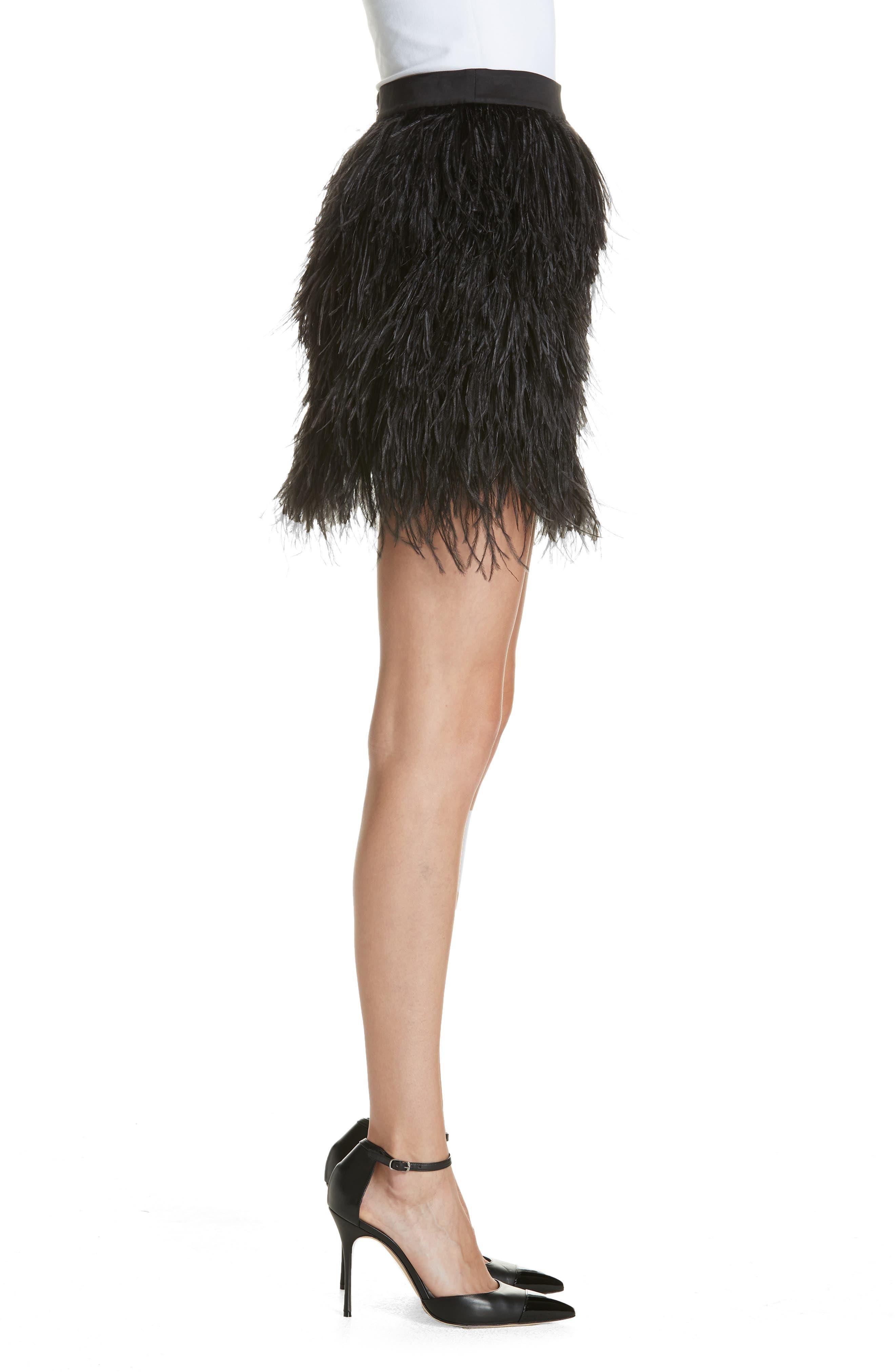 Ostrich Feather Miniskirt,                             Alternate thumbnail 3, color,                             001