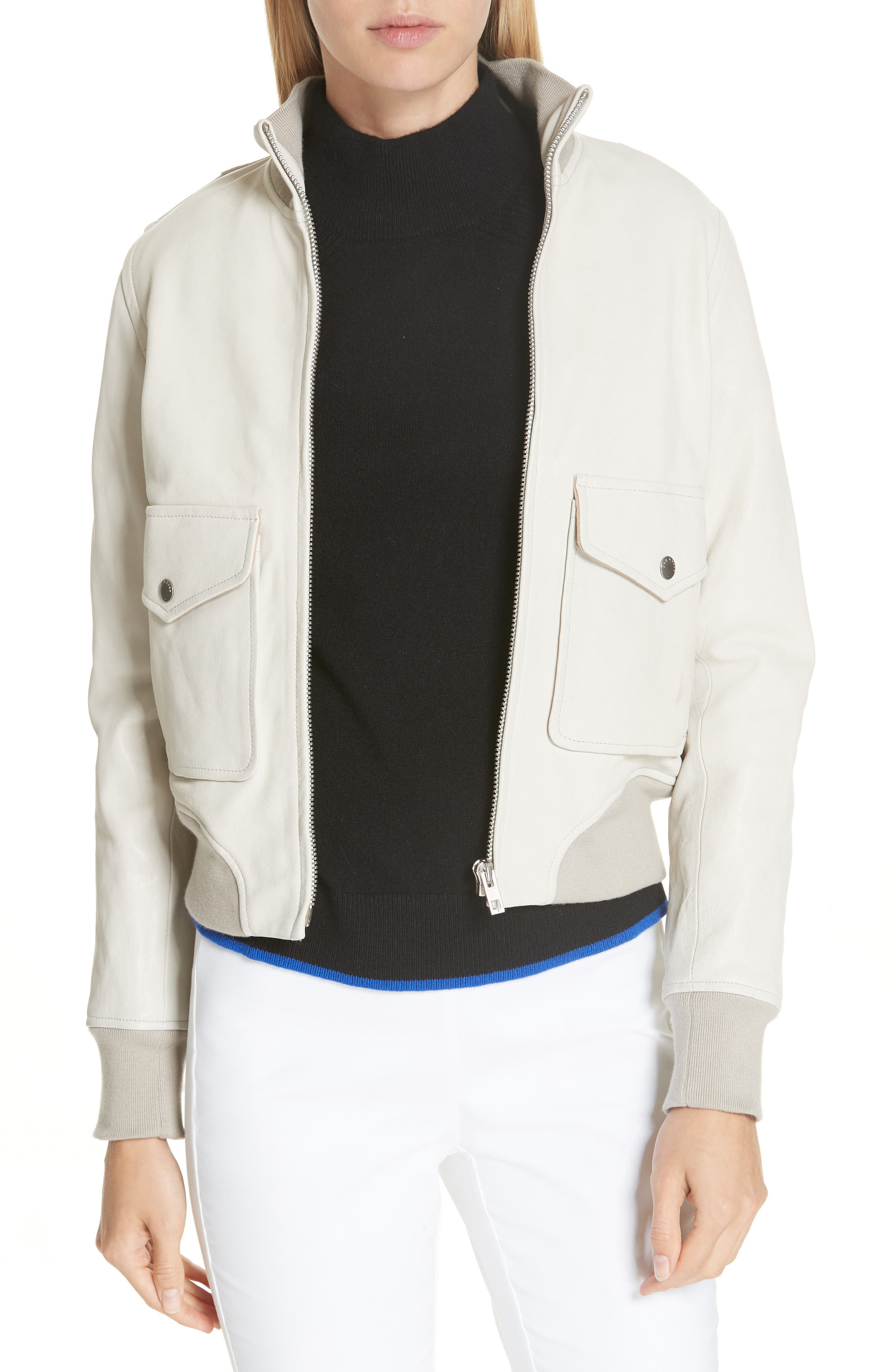 Mila Lambskin Leather Jacket,                         Main,                         color, IVORY