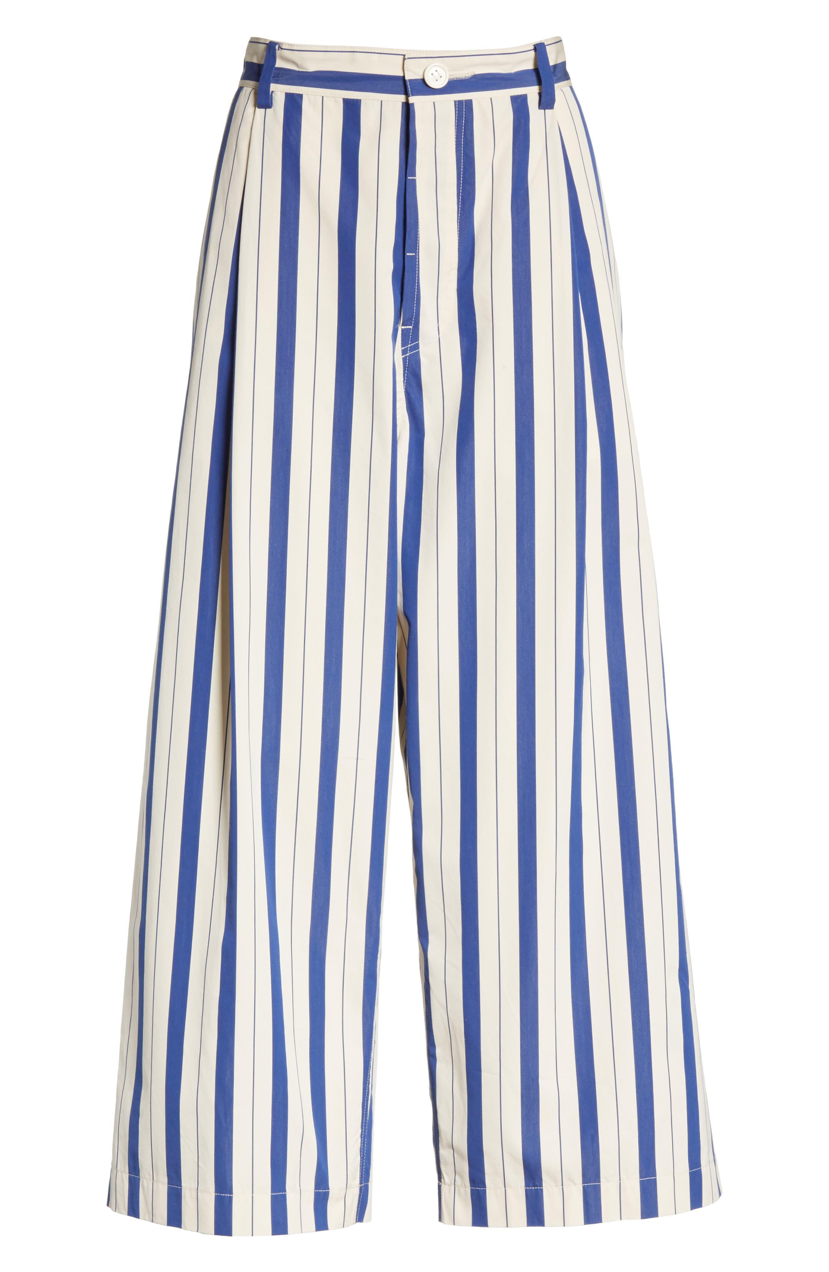 Stripe Wide Leg Pants,                             Alternate thumbnail 6, color,                             100