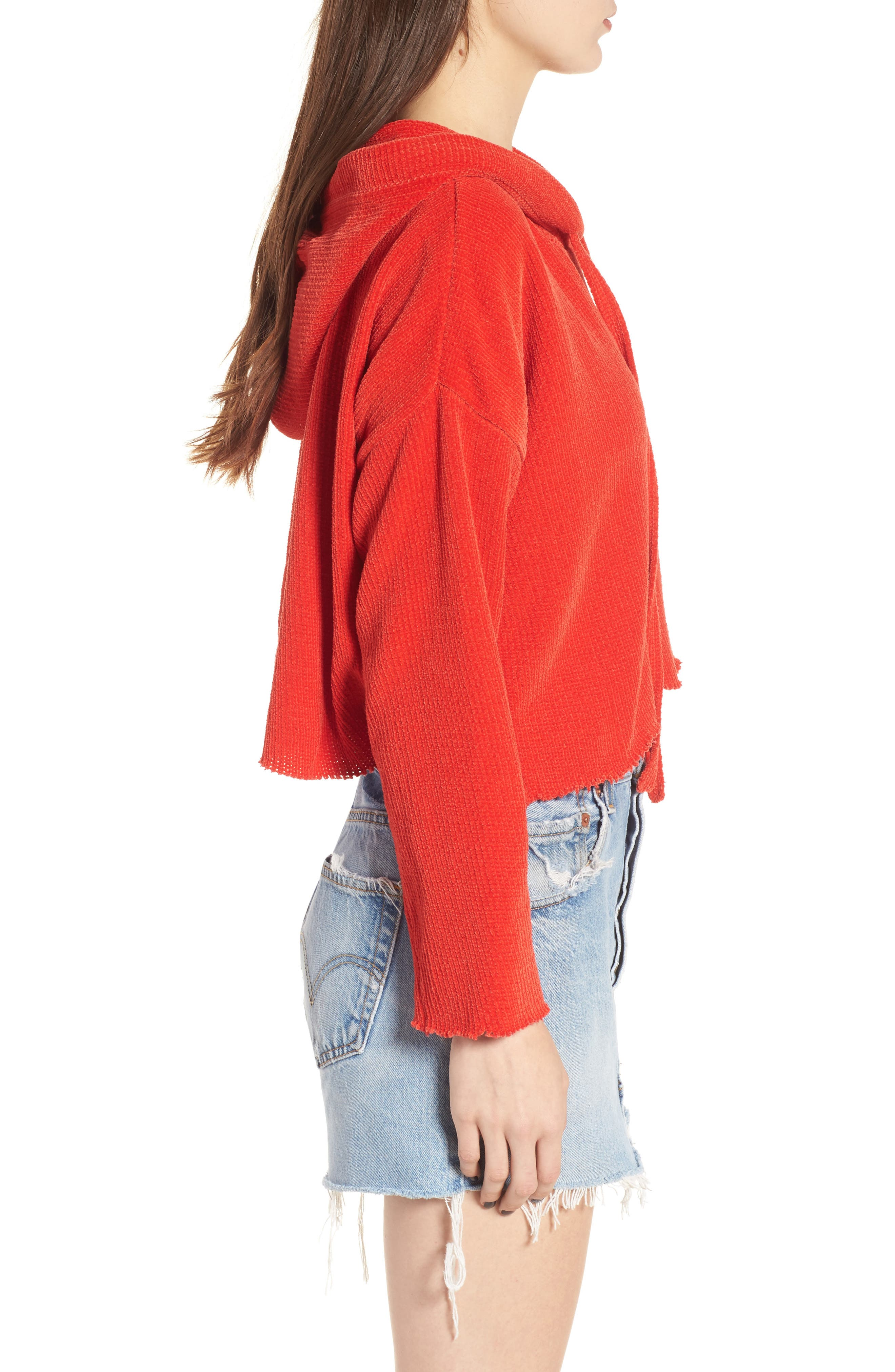 Chenille Crop Hoodie,                             Alternate thumbnail 3, color,                             950