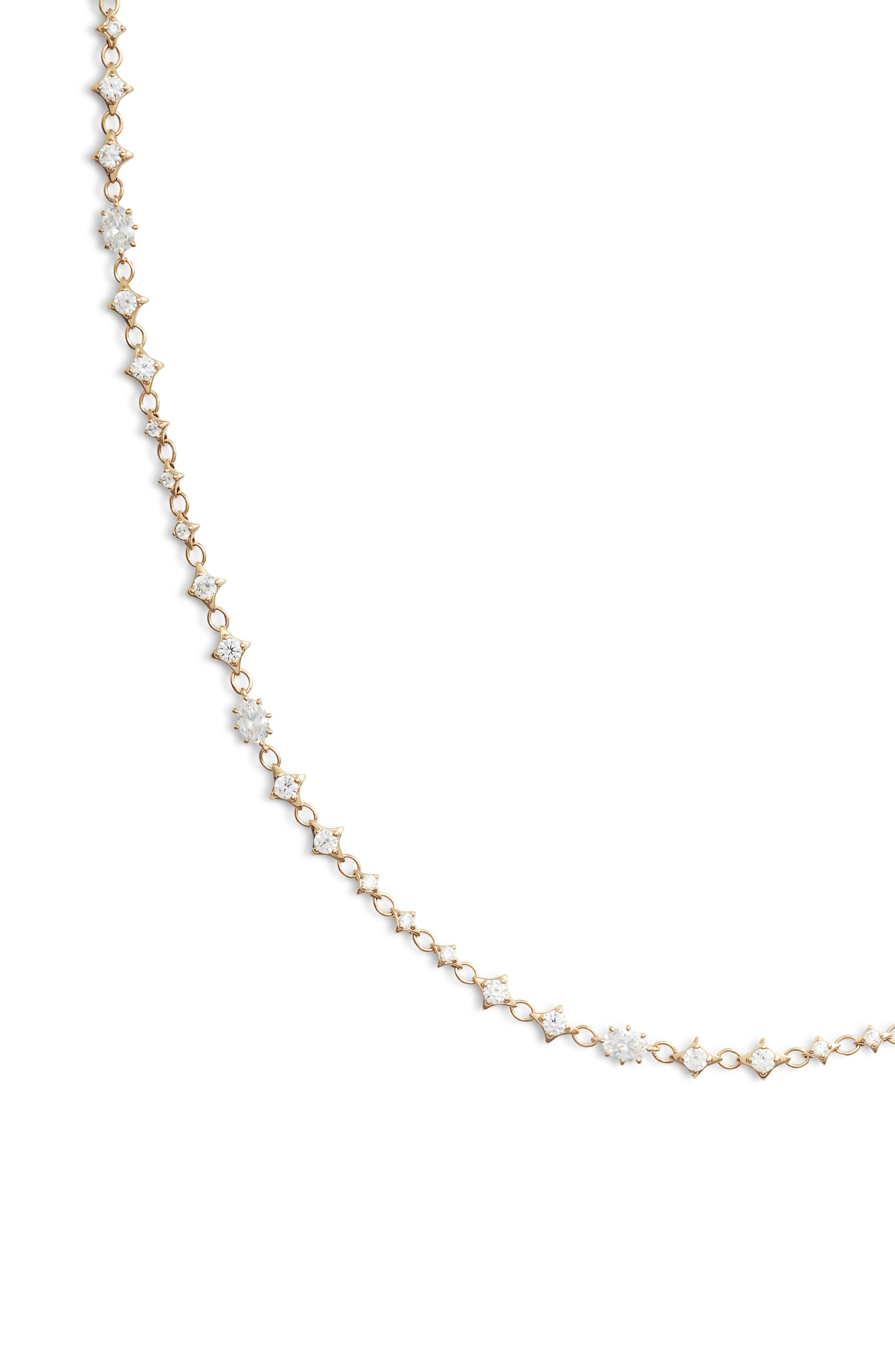 Boho Cubic Zirconia Necklace,                             Alternate thumbnail 2, color,                             GOLD/ CLEAR