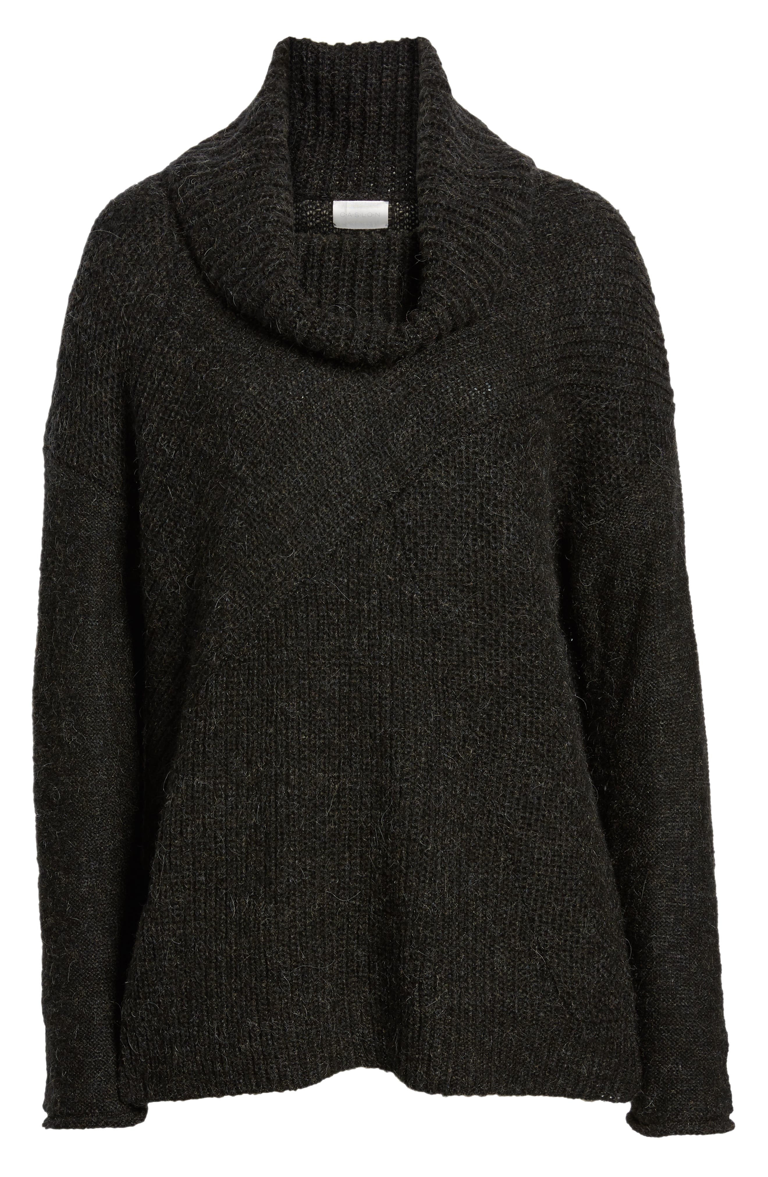 Mix Stitch Funnel Neck Wool Blend Sweater,                             Alternate thumbnail 6, color,                             001