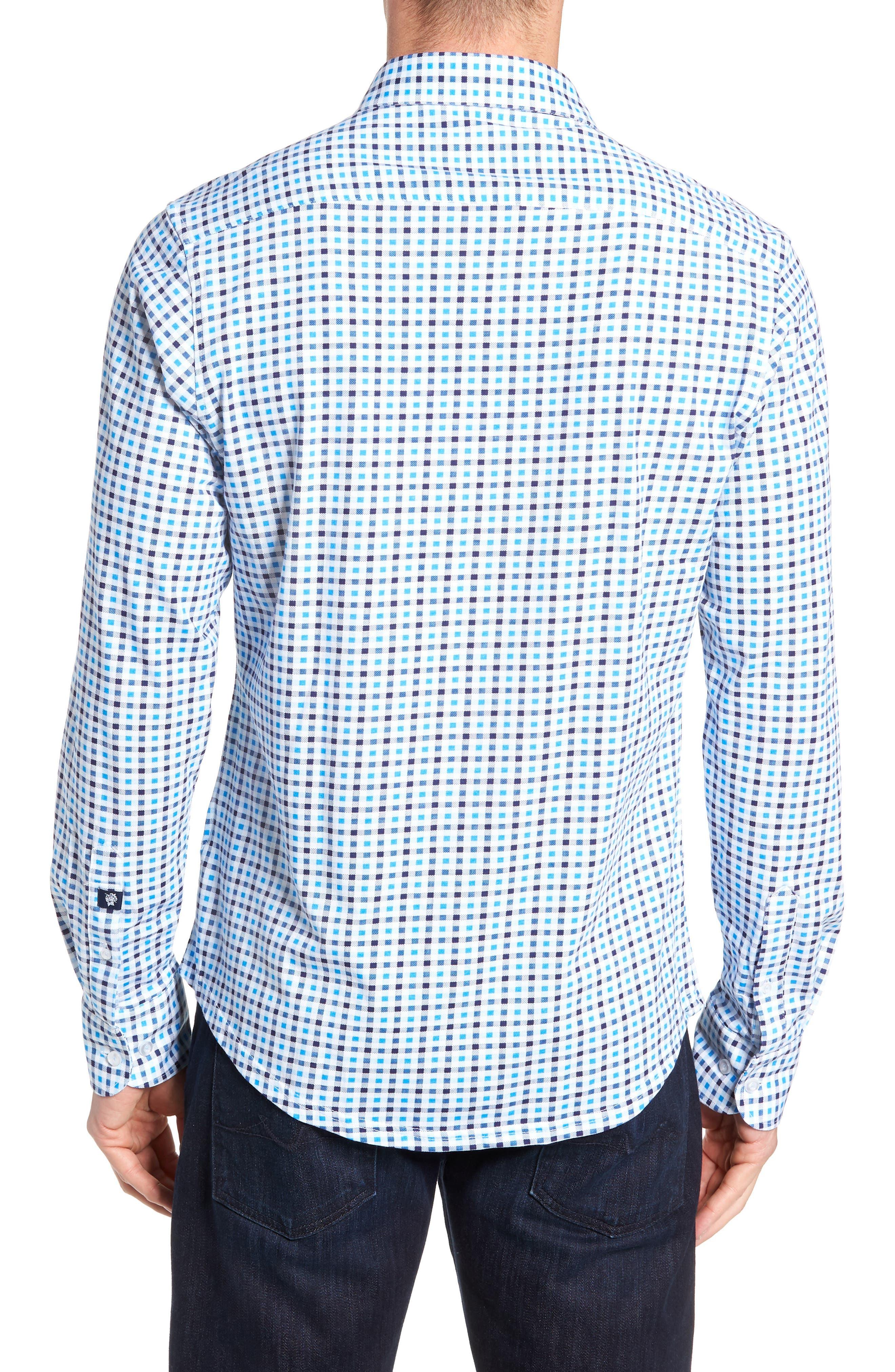 Trim Fit Knit Sport Shirt,                             Alternate thumbnail 3, color,                             BLUE