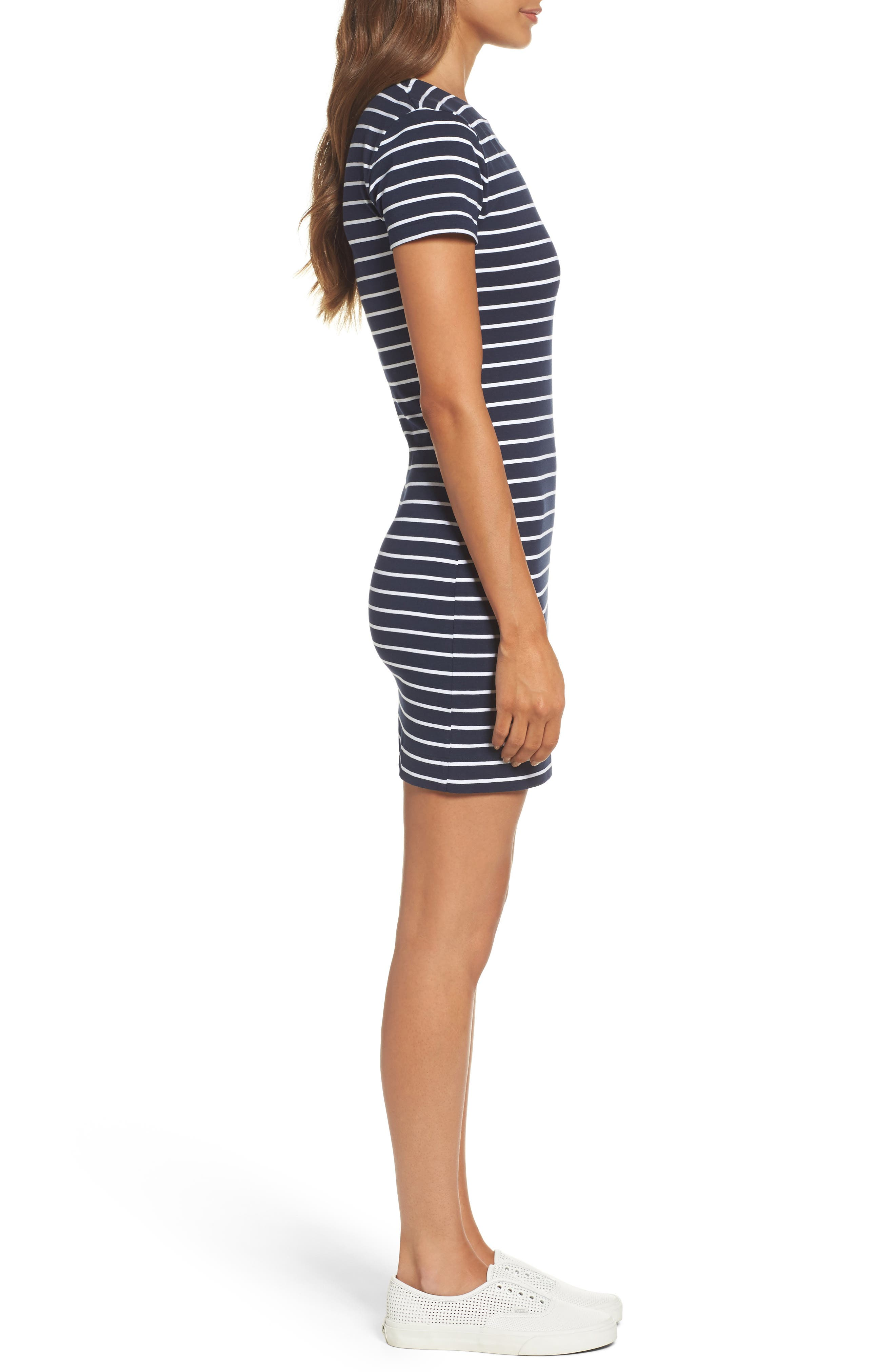 Stripe T-Shirt Dress,                             Alternate thumbnail 3, color,                             490