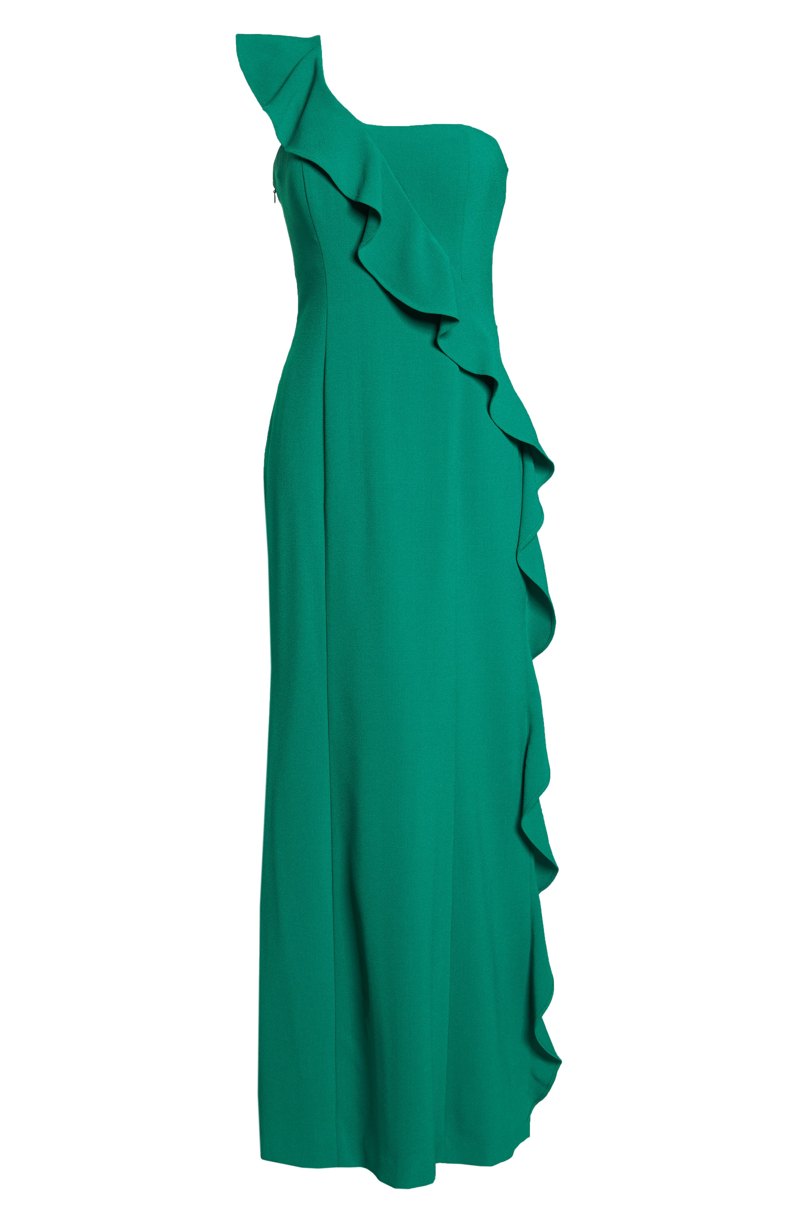 One-Shoulder Gown,                             Alternate thumbnail 7, color,                             GREEN