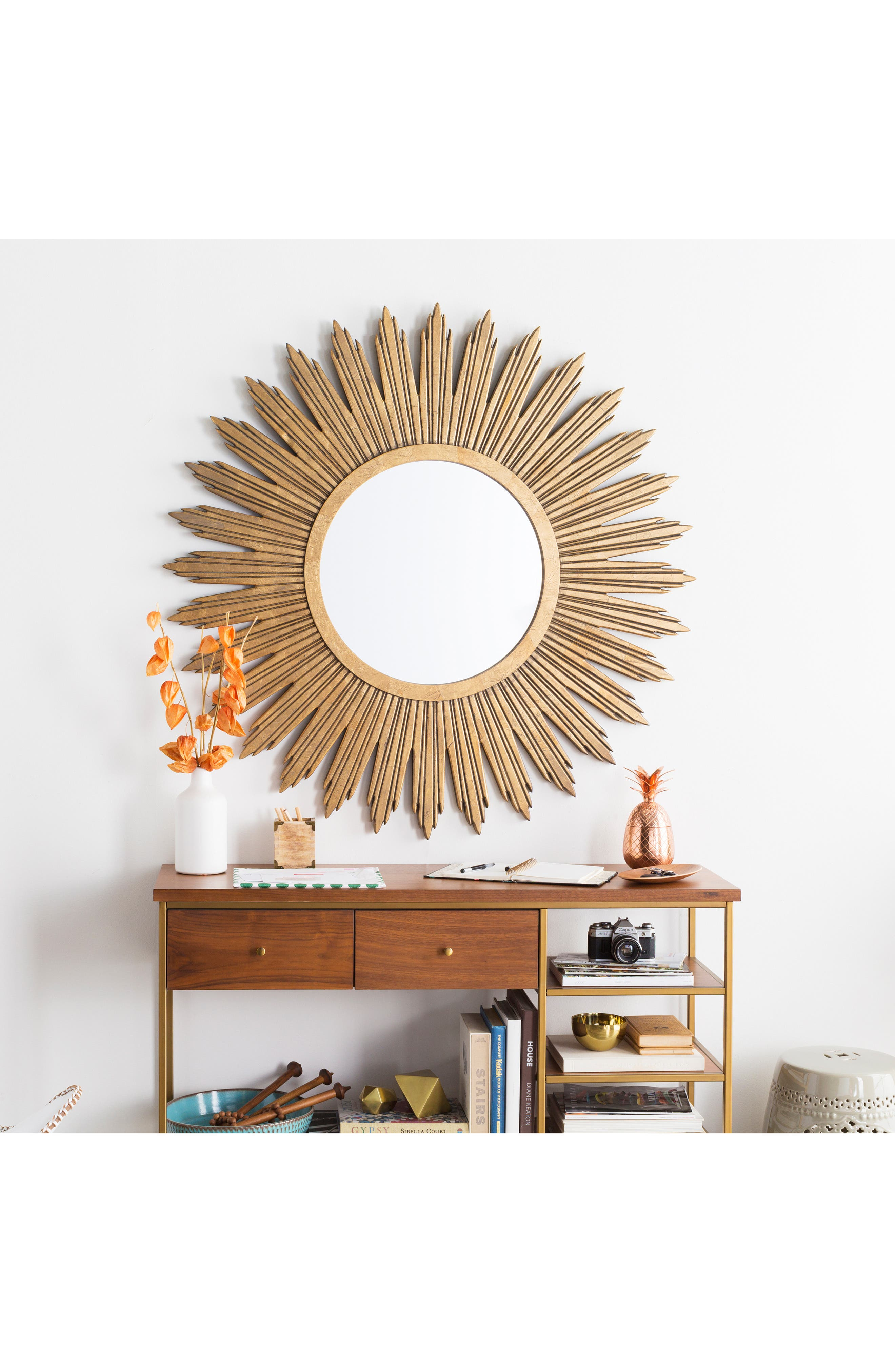 SURYA HOME,                             Gilded Mirror,                             Alternate thumbnail 2, color,                             AGED GOLD