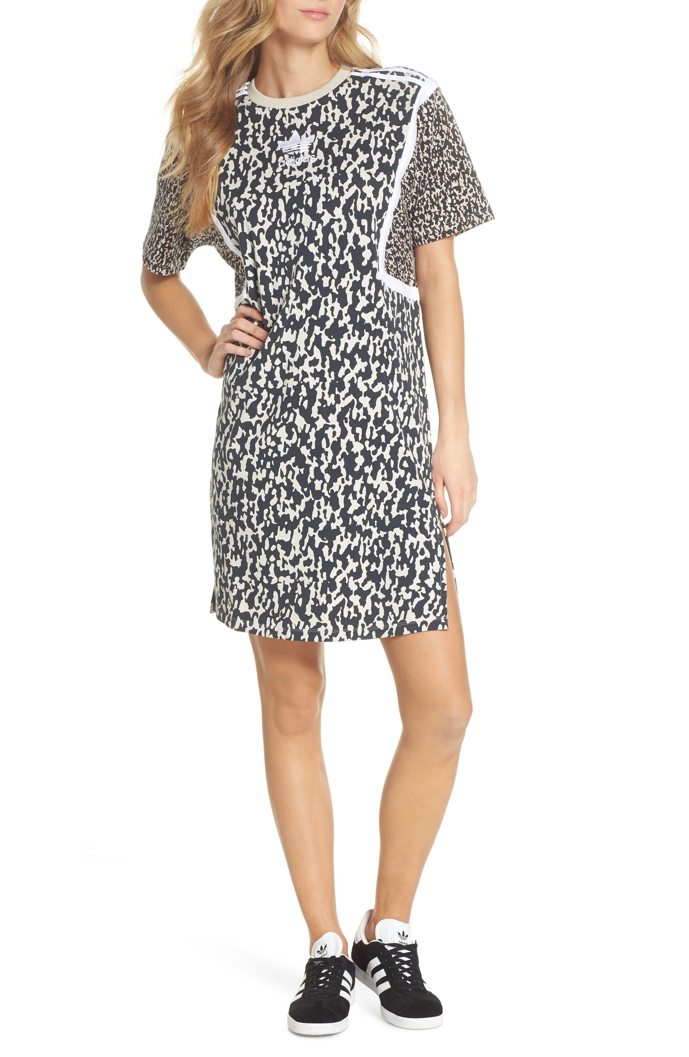 adidas Animal Print Shift Dress,                             Main thumbnail 1, color,                             250