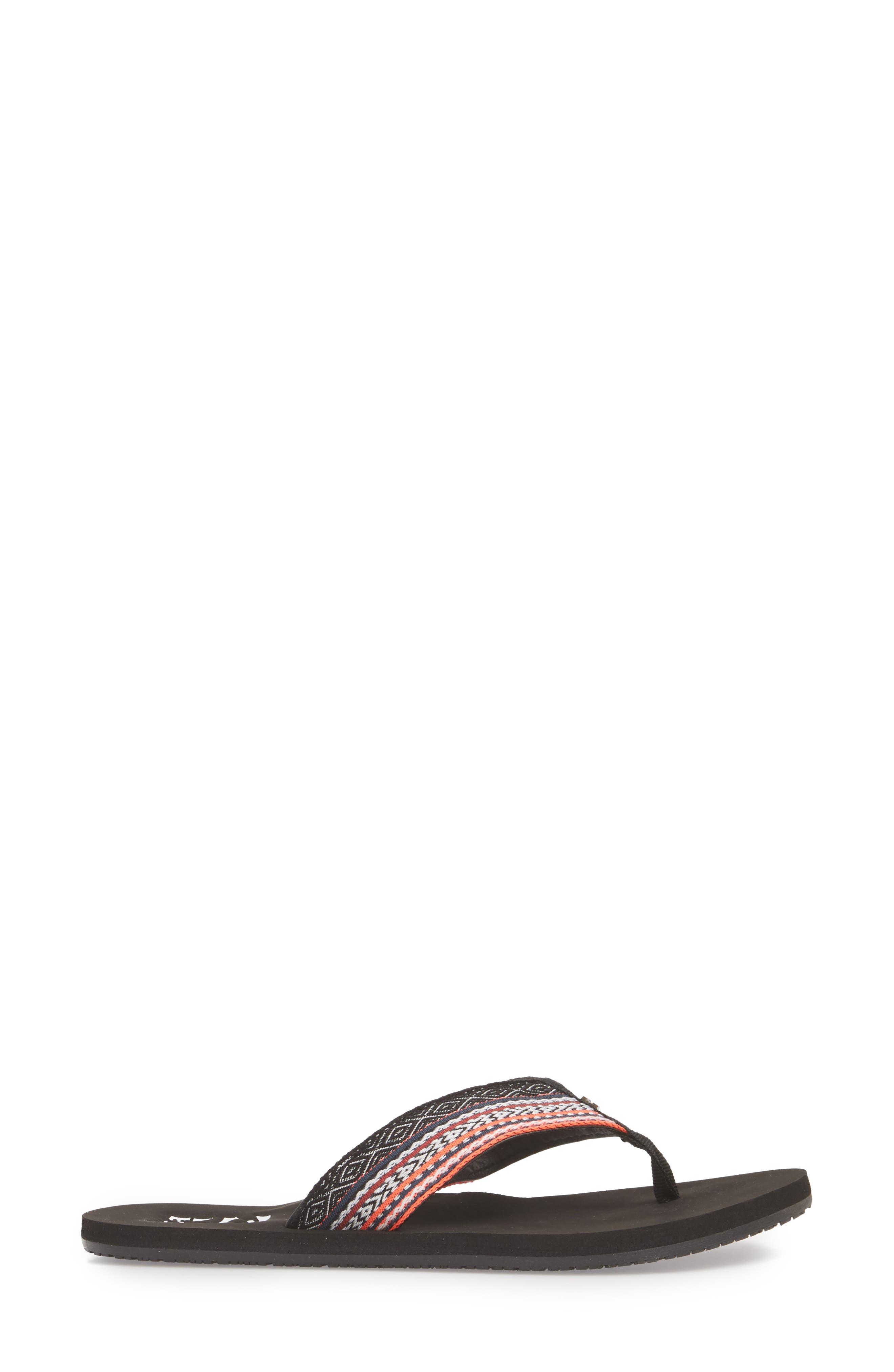Baja Flip Flop,                             Alternate thumbnail 3, color,                             BLACK CORAL