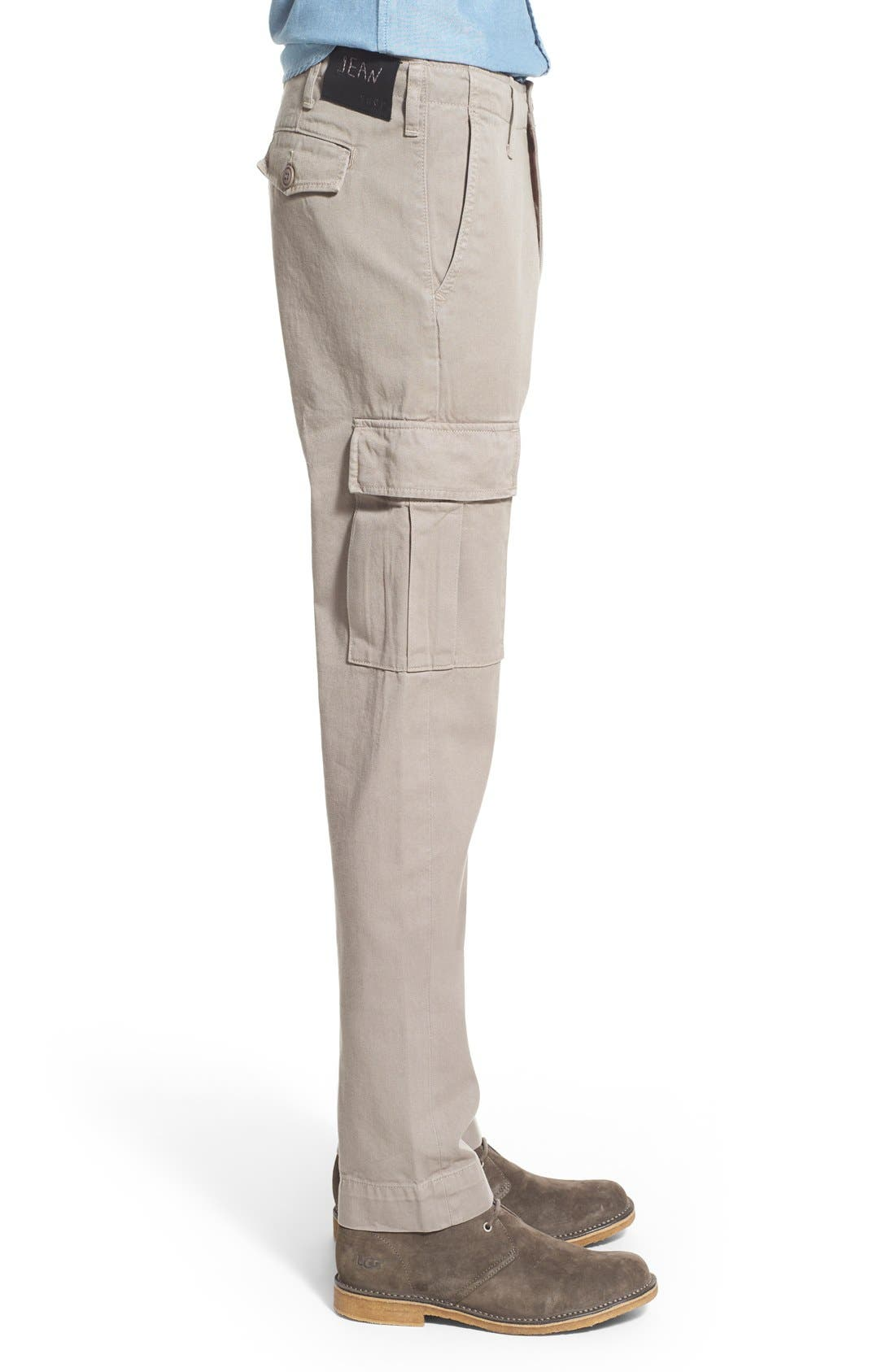 Slim Fit Selvedge Twill Cargo Pants,                             Alternate thumbnail 4, color,                             086