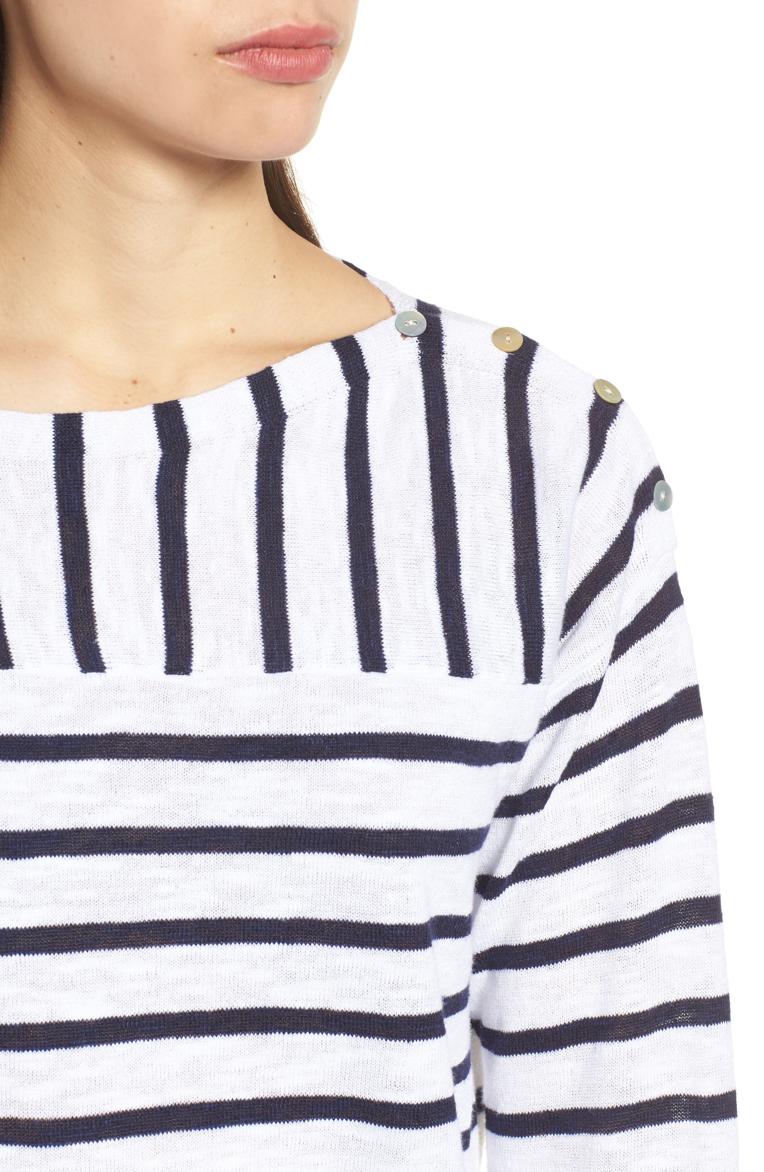 Stripe Organic Linen & Cotton Sweater,                             Alternate thumbnail 4, color,                             143