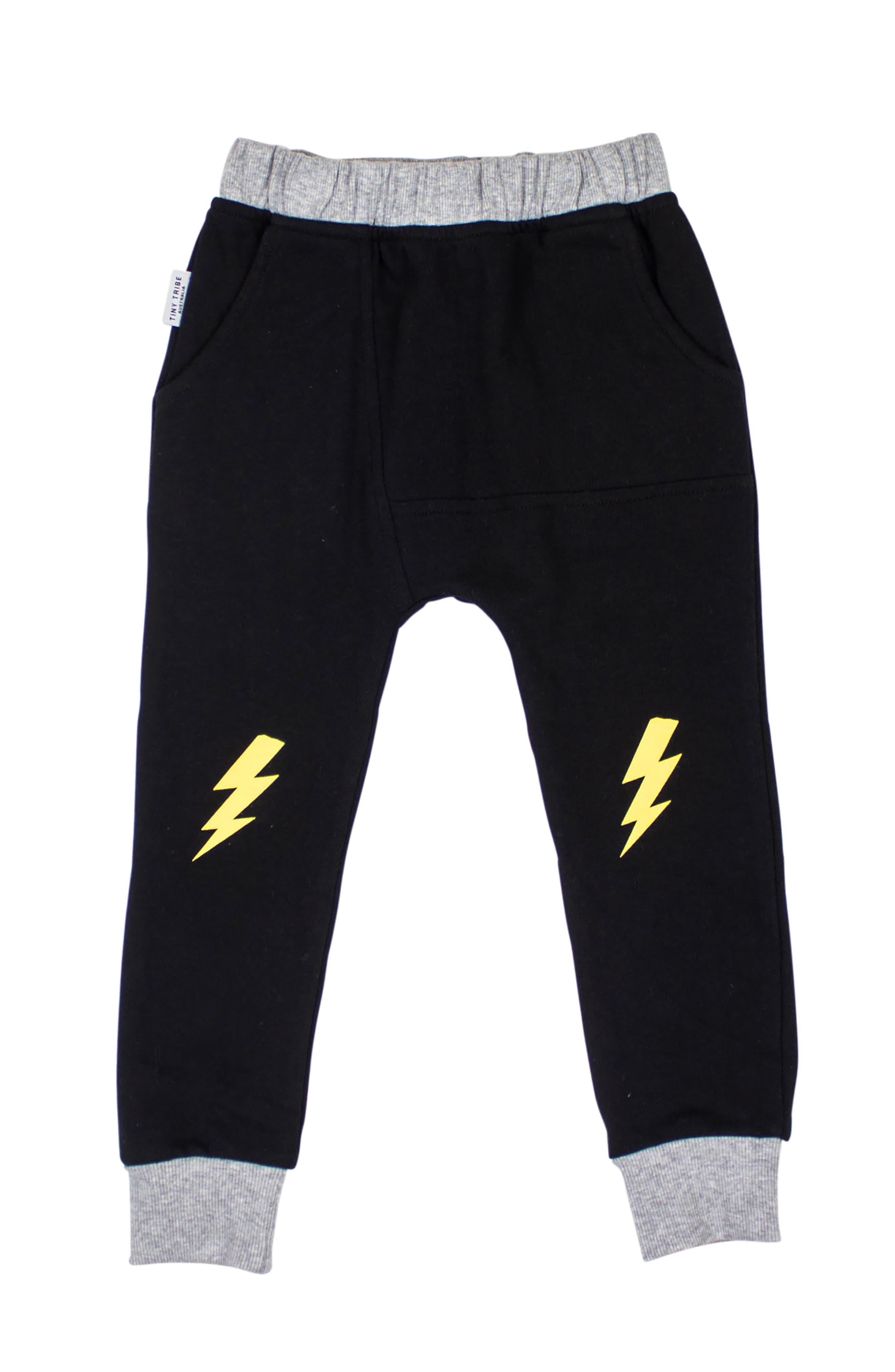 Lightning Sweatpants,                             Main thumbnail 1, color,                             BLACK/ YELLOW
