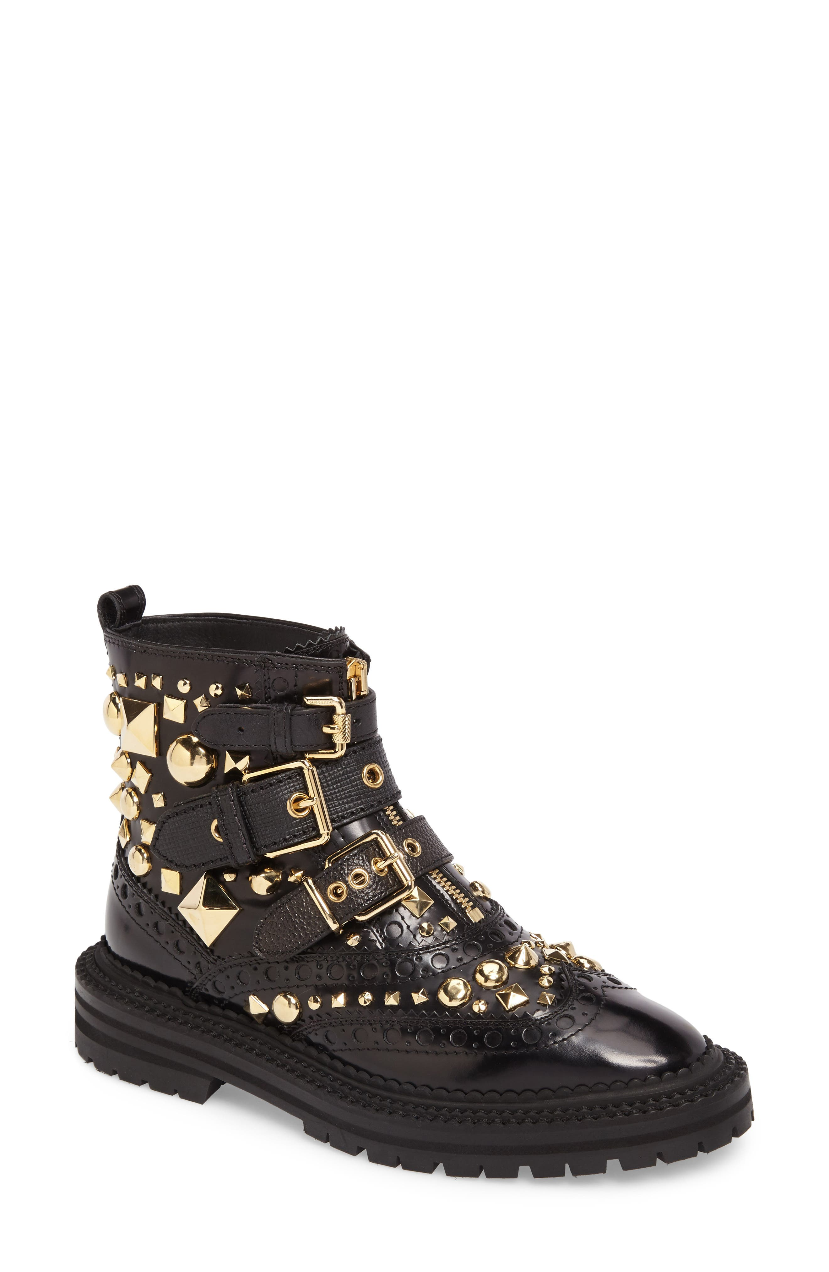 Studded Combat Boot,                         Main,                         color, 001