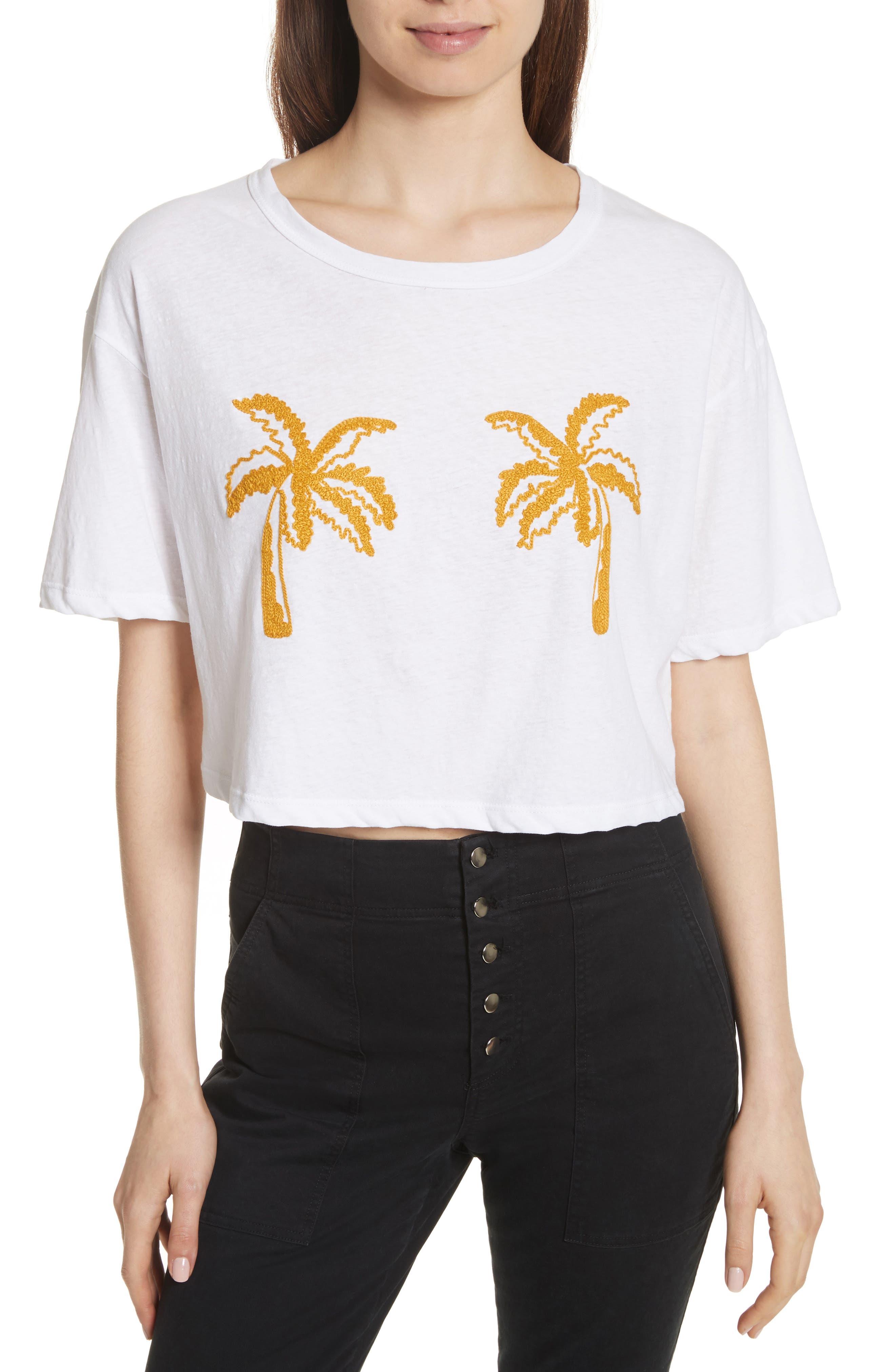 Teagan Palm Embroidered Crop Tee,                             Main thumbnail 1, color,                             101