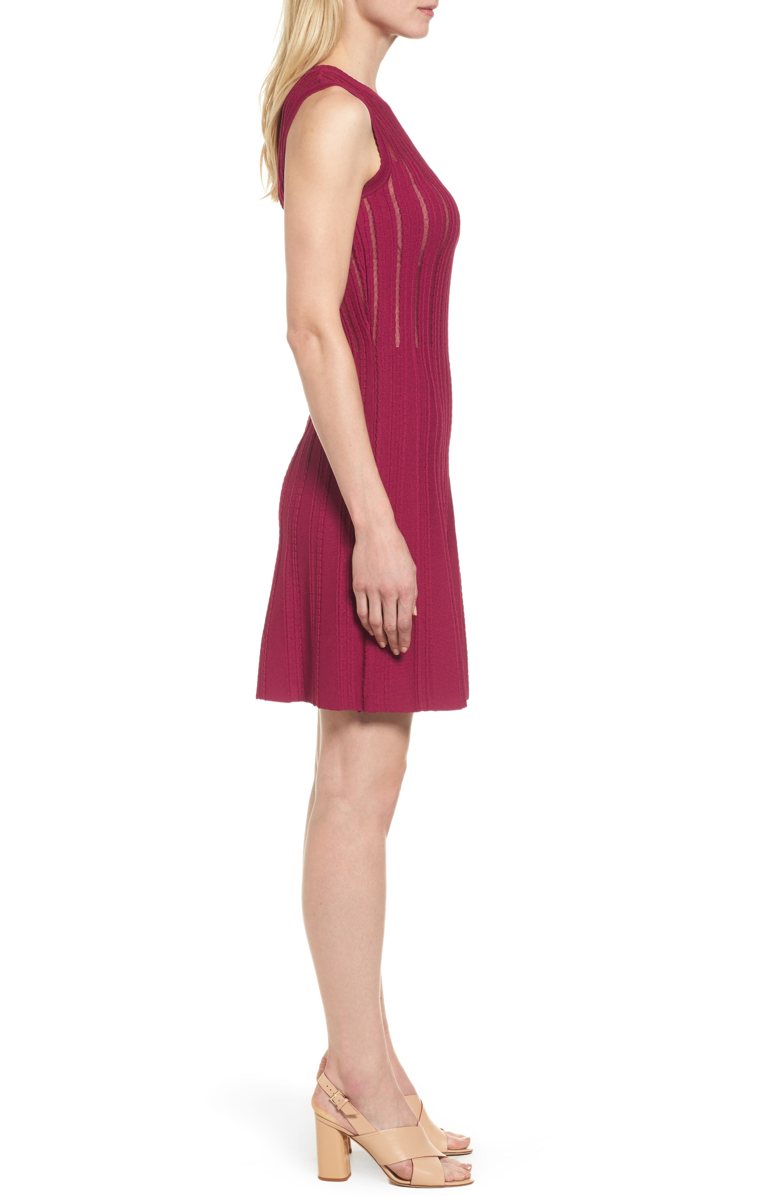 Knit Fit & Flare Dress,                             Alternate thumbnail 6, color,
