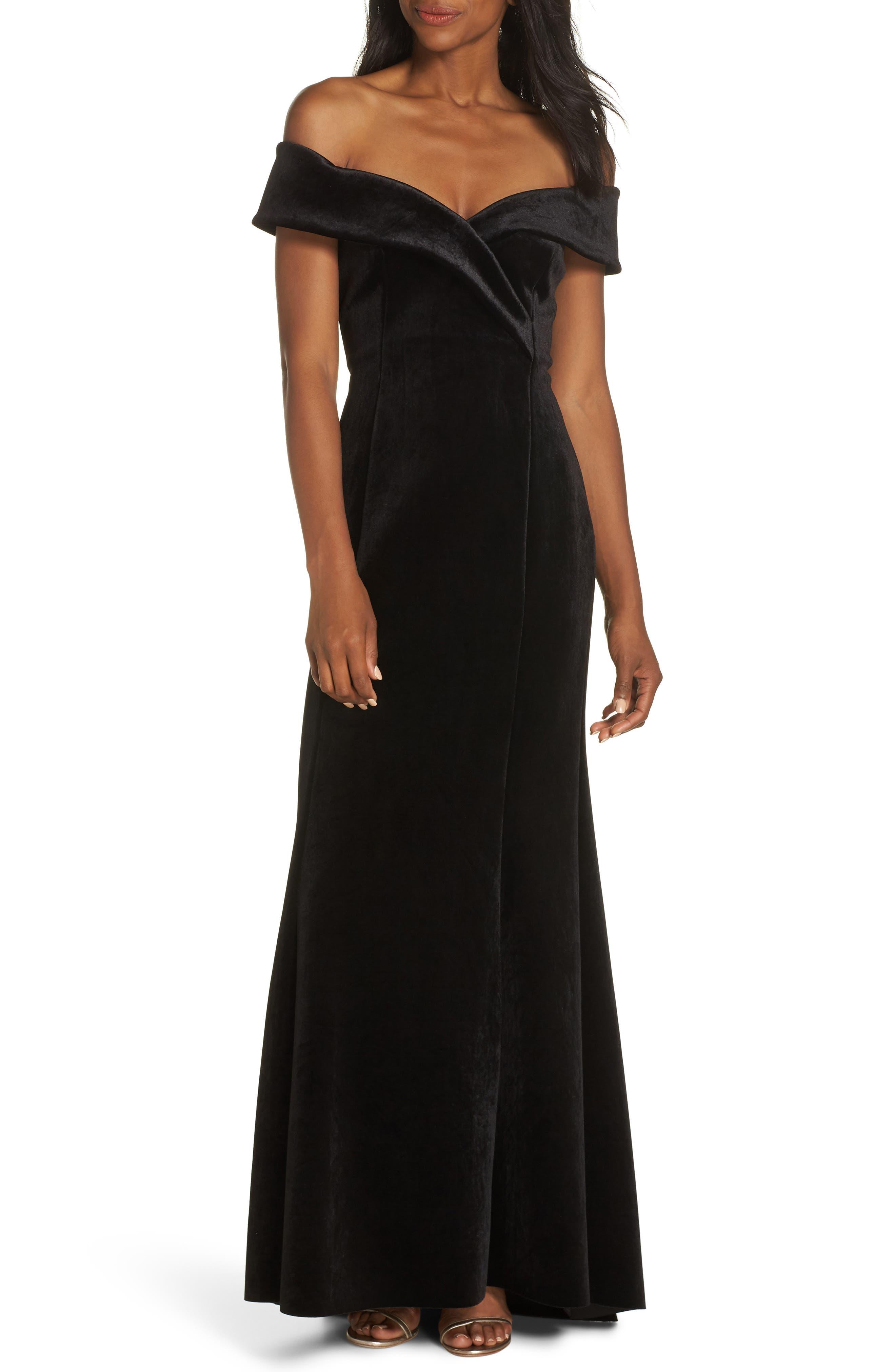 Eliza J Off The Shoulder Trumpet Gown, Black