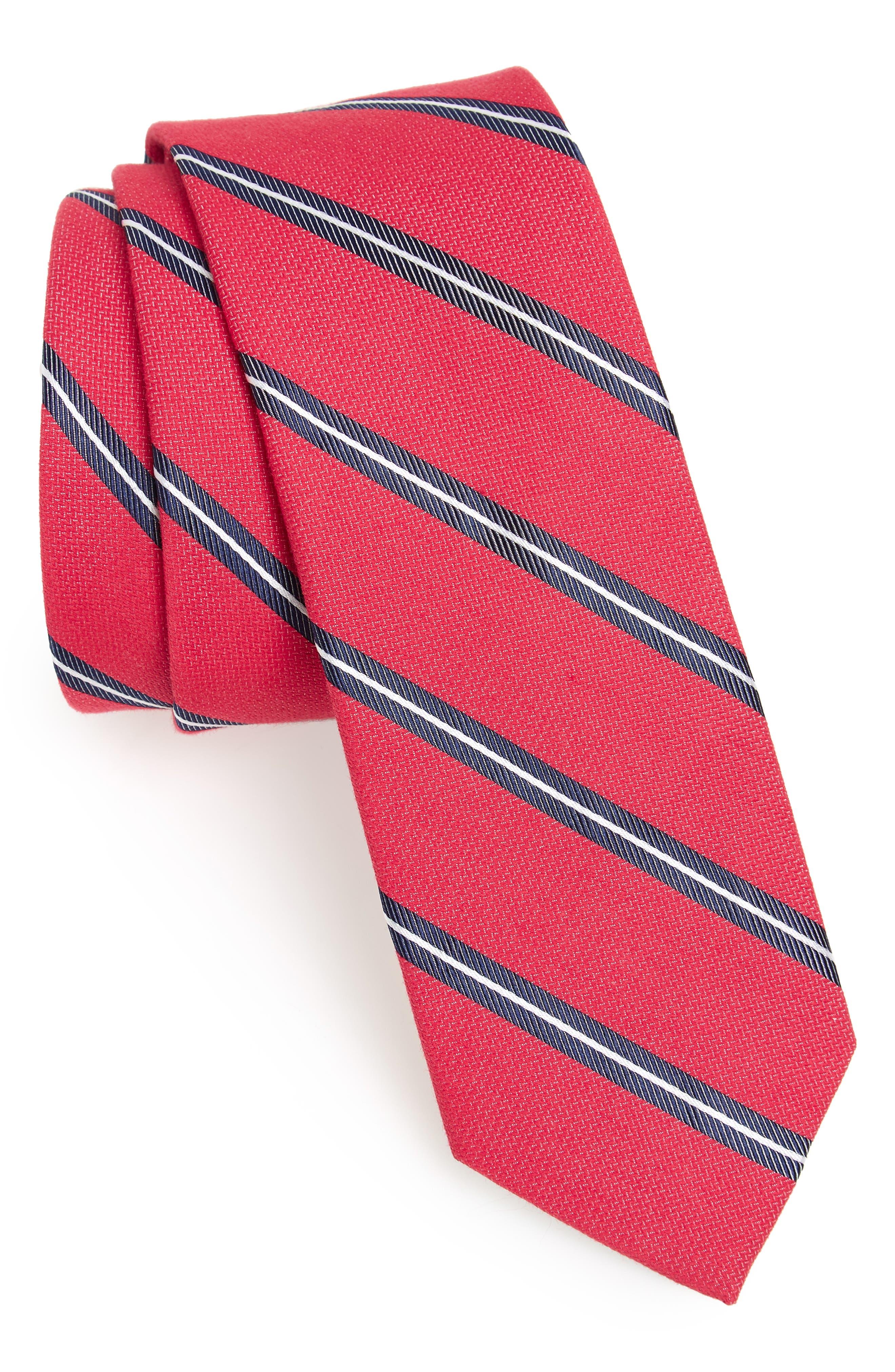 Edinger Stripe Silk & Cotton Tie,                             Main thumbnail 5, color,