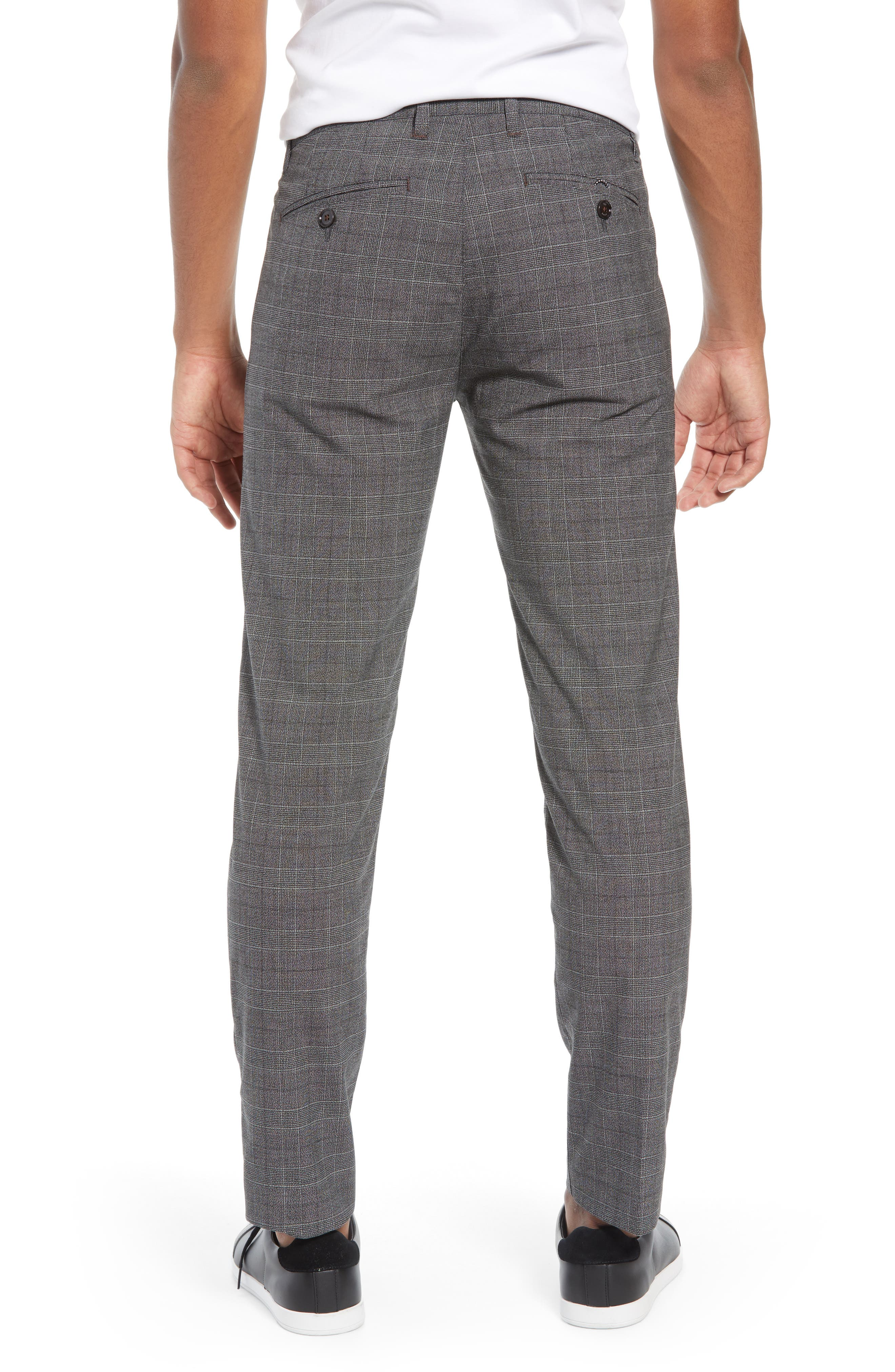 Squared Slim Fit Check Cropped Trousers,                             Alternate thumbnail 2, color,                             GREY