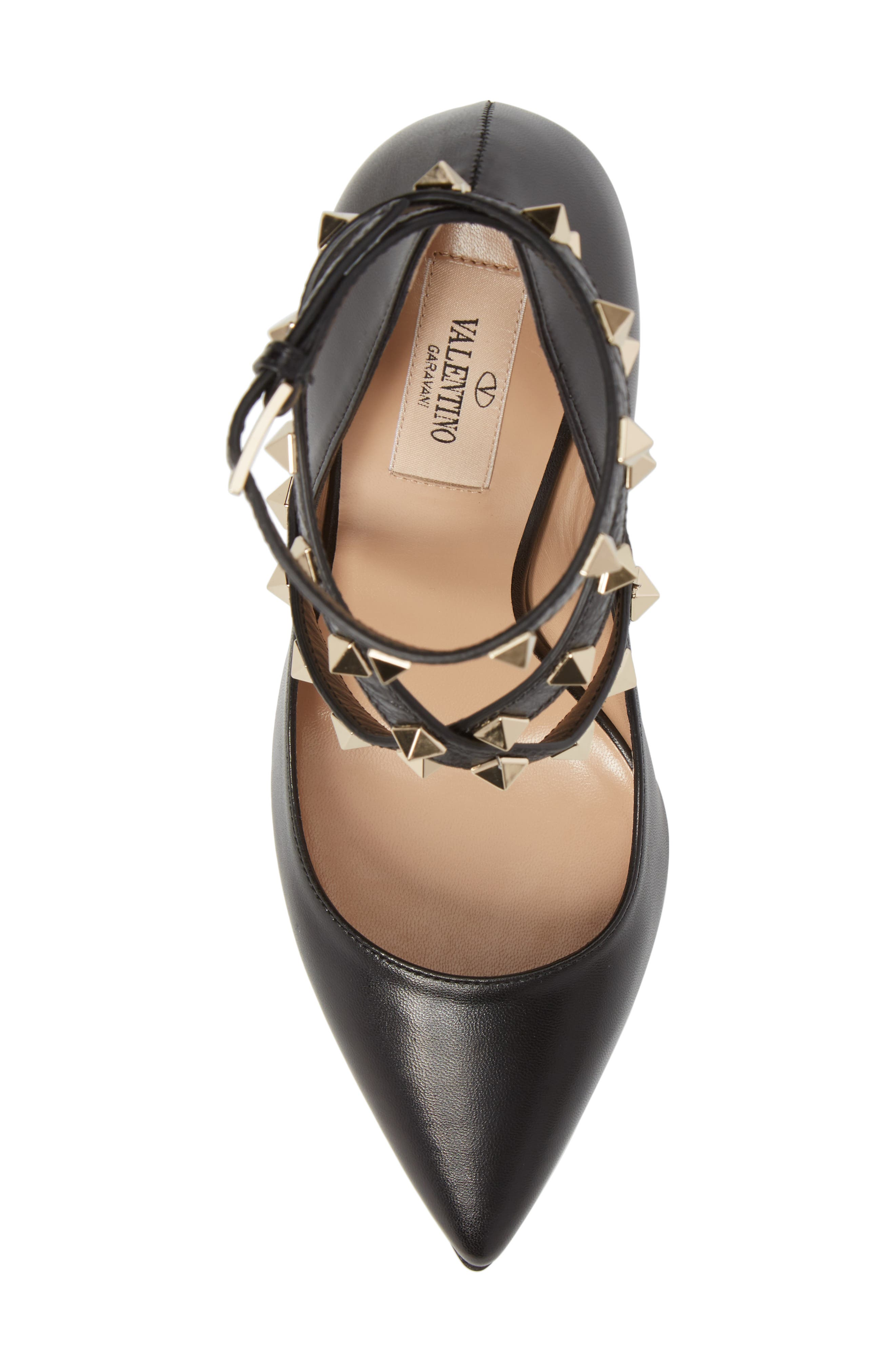 Rockstud Wrap Pump,                             Alternate thumbnail 5, color,                             BLACK