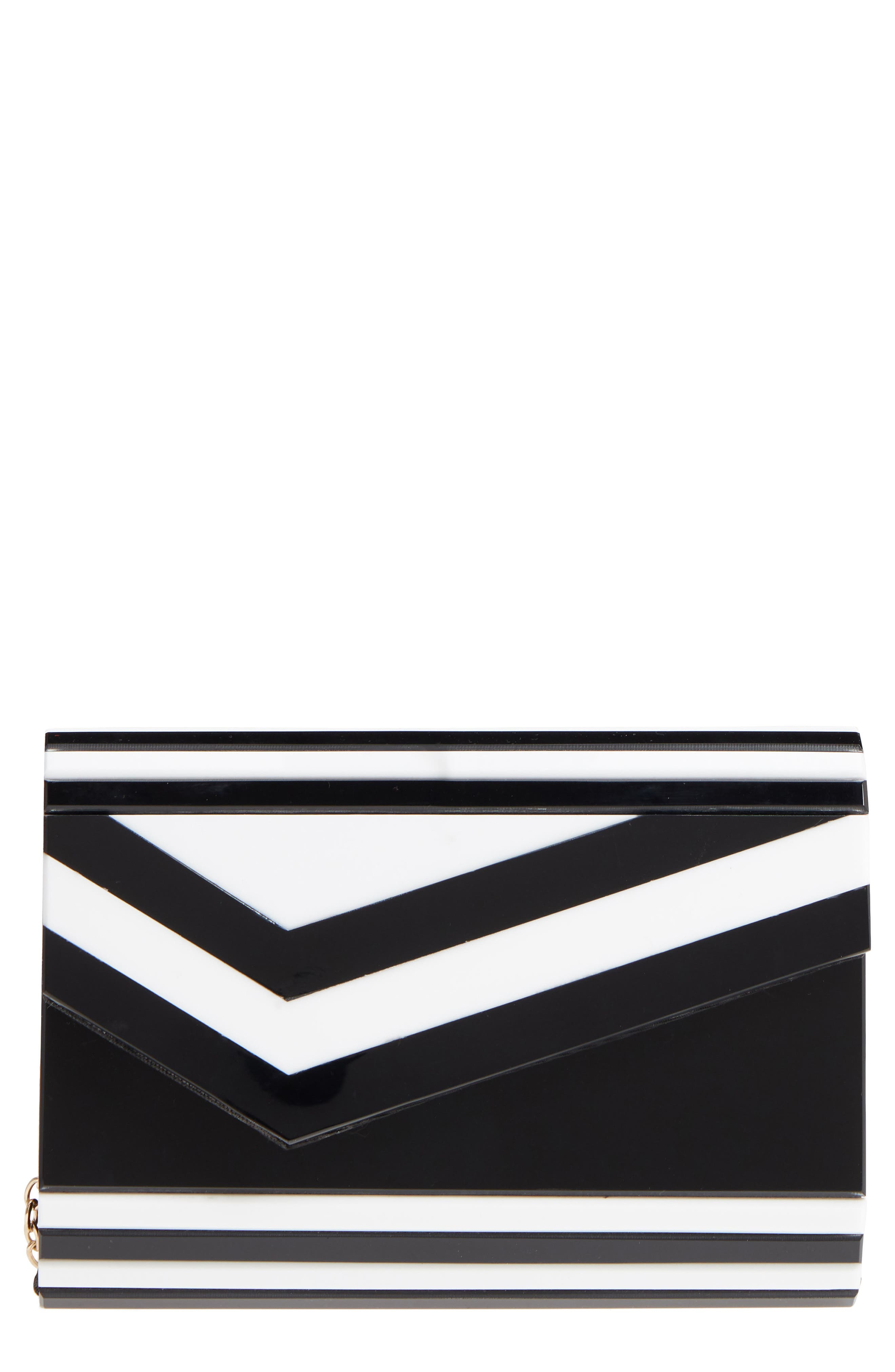 Arden Geo Stripe Box Clutch,                             Main thumbnail 1, color,                             100